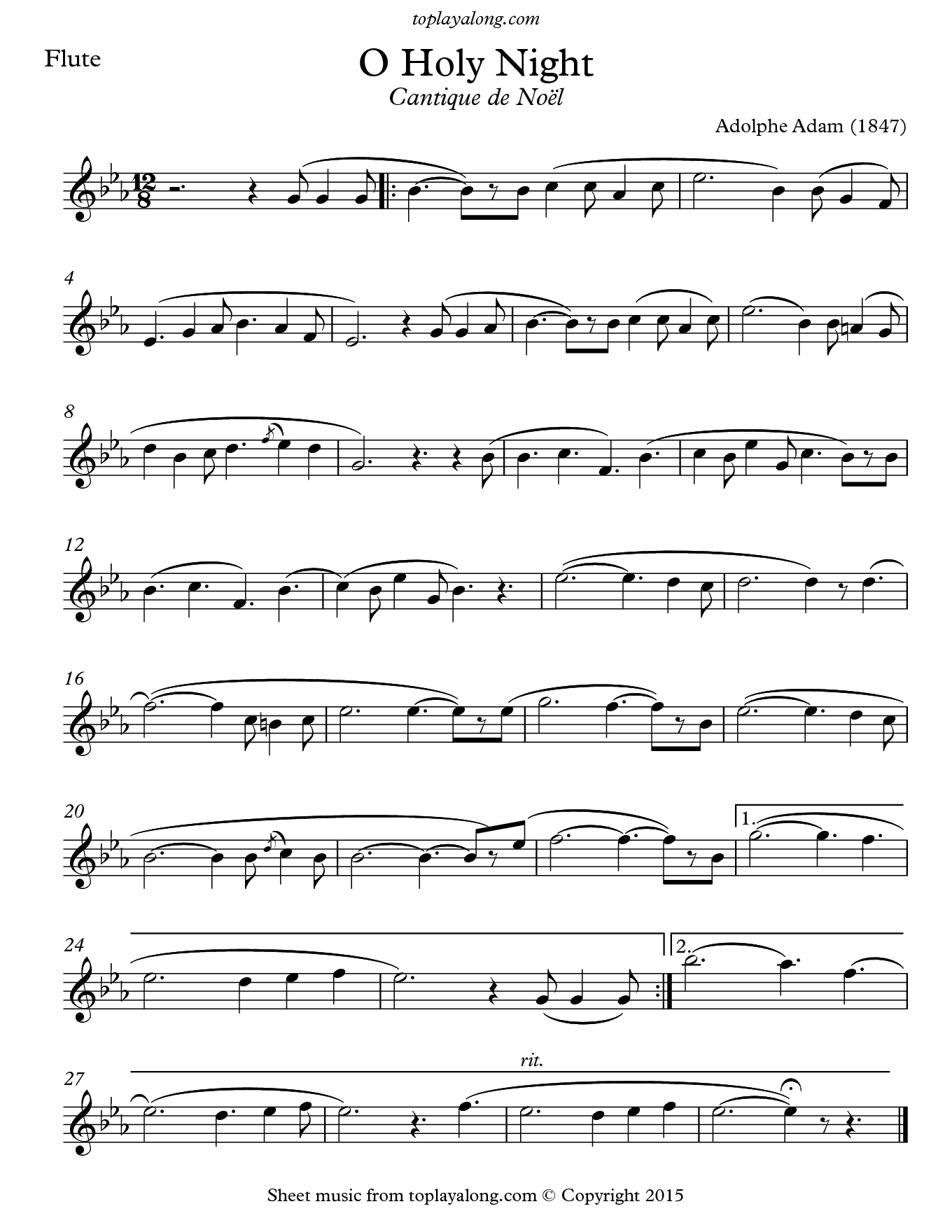 O Holy Night (Cantique de Noel) by Adolphe Adam. Sheet music for Flute, page 1.