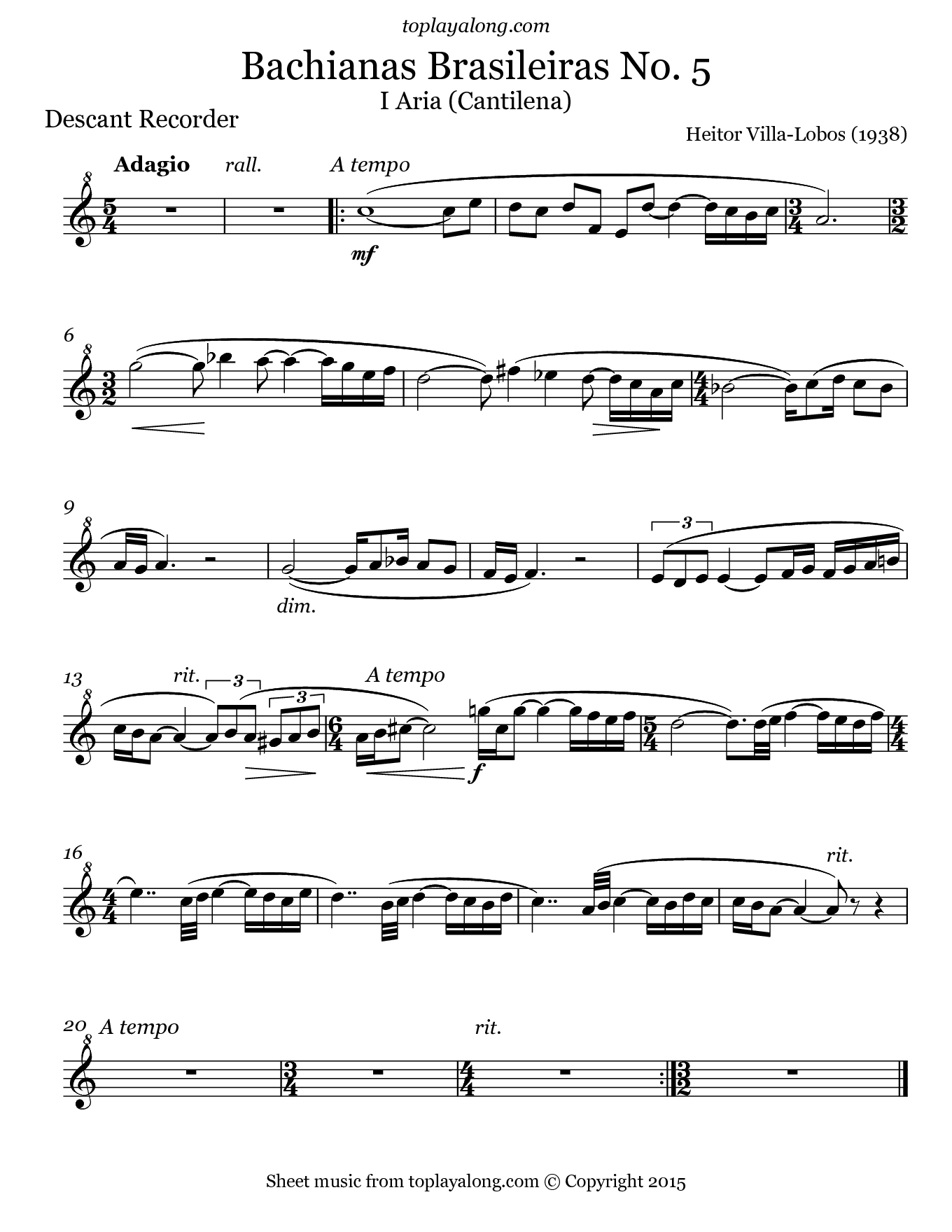 Bachianas Brasileiras No 5 by Villa-Lobos. Sheet music for Recorder, page 1.