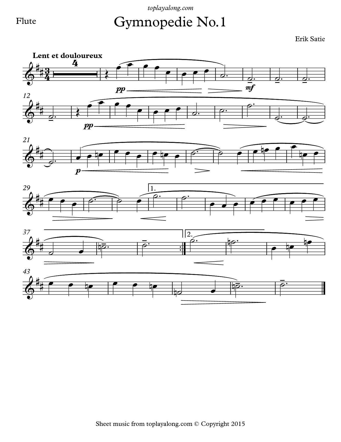 Gymnopédie No. 1 by Satie. Sheet music for Flute, page 1.