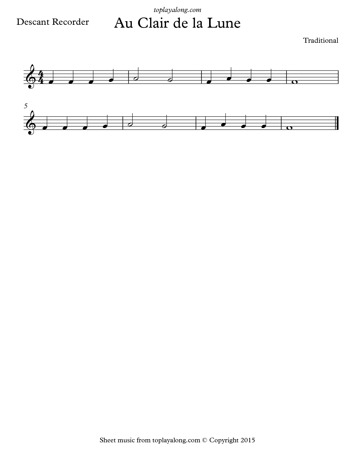 Au Clair de la Lune. Sheet music for Recorder, page 1.