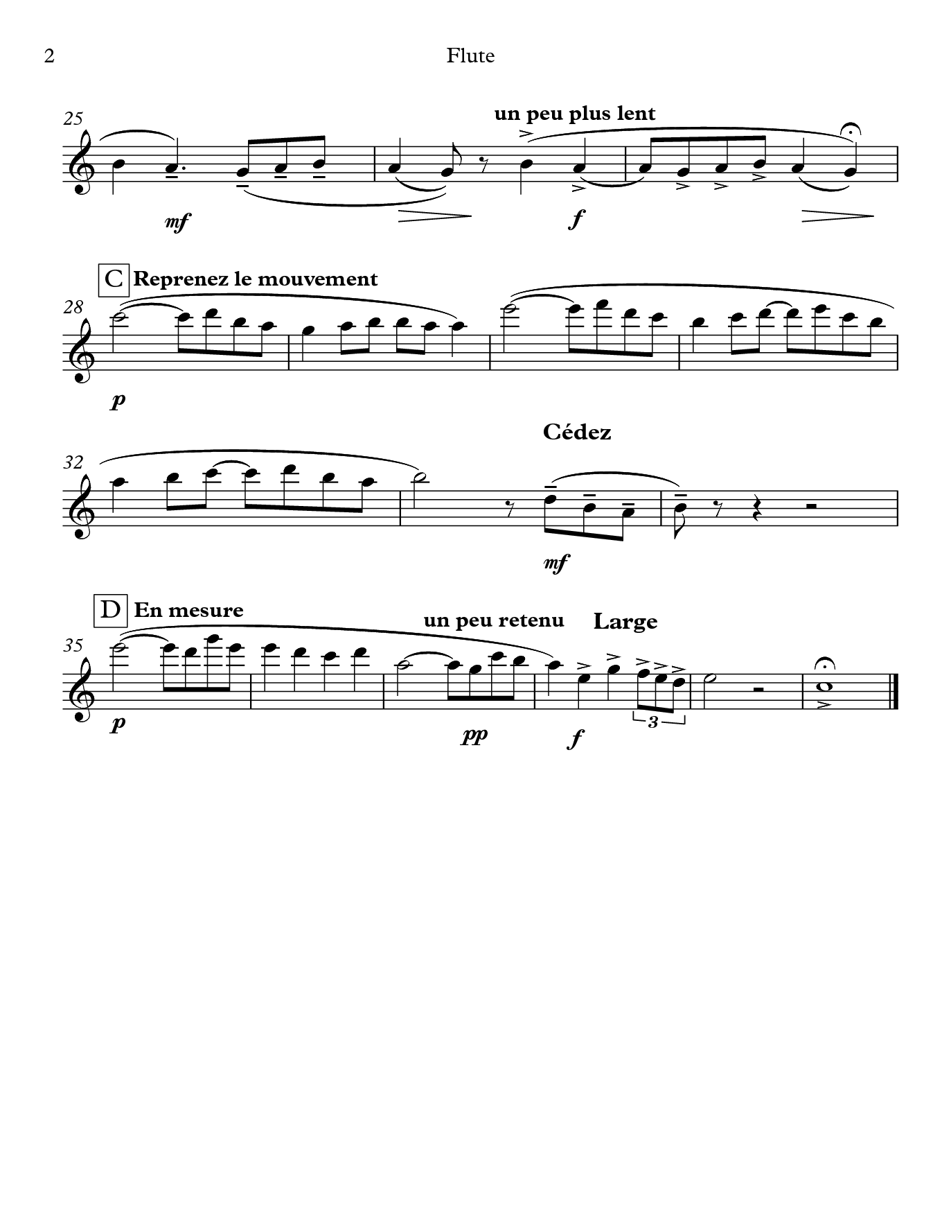 Pavane pour une infante defunte by Ravel. Sheet music for Flute, page 2.