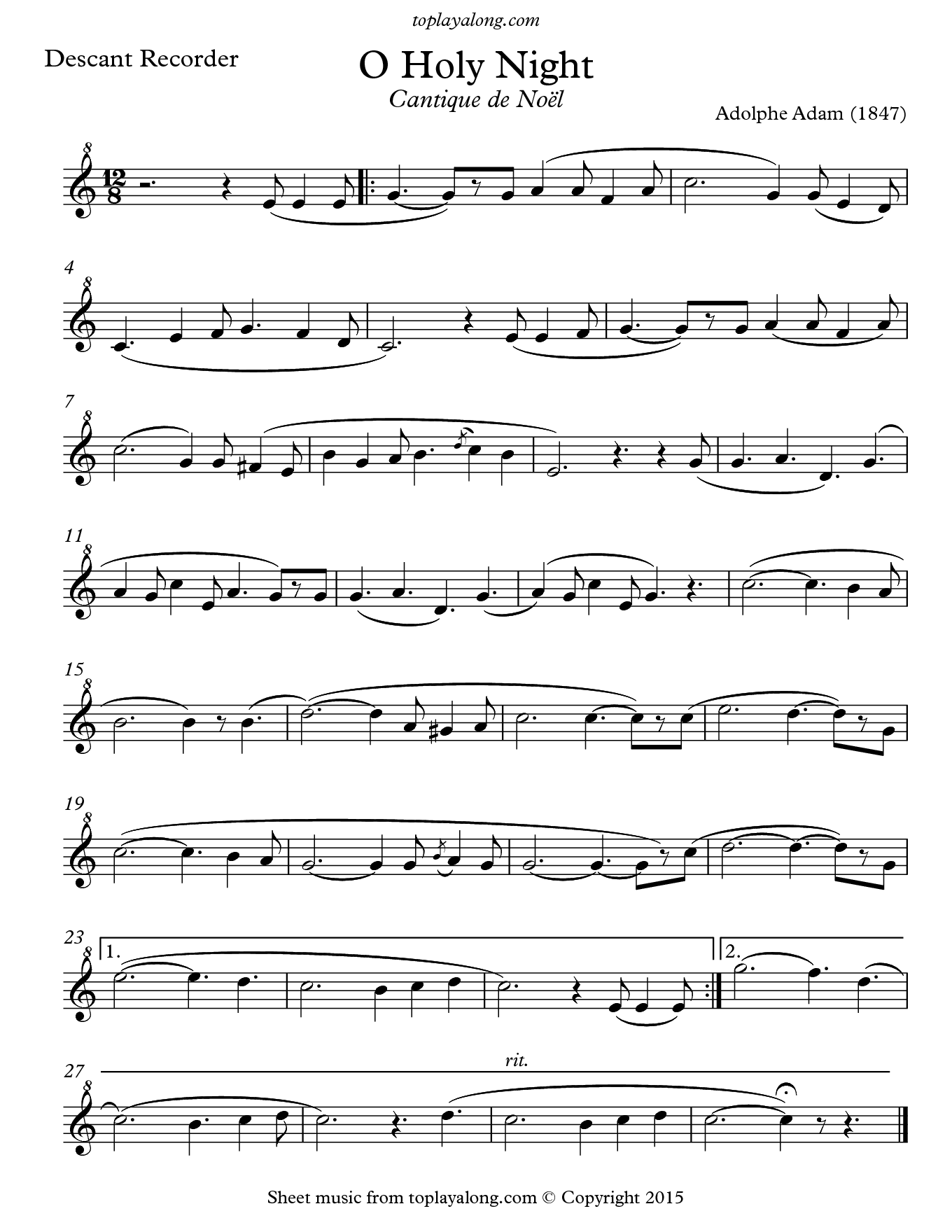 O Holy Night (Cantique de Noel) by Adolphe Adam. Sheet music for Recorder, page 1.