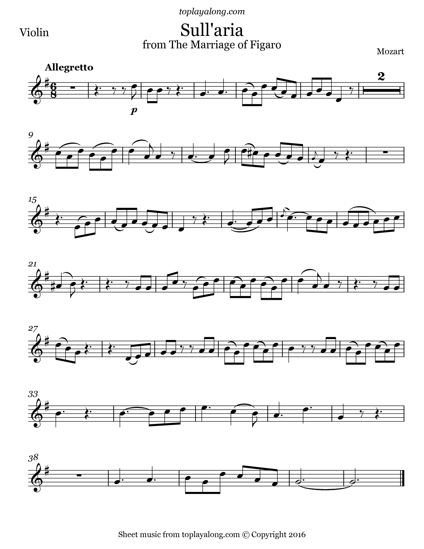 Sull'aria from The Marriage of Figaro by Mozart. Sheet music for Violin, page 1.