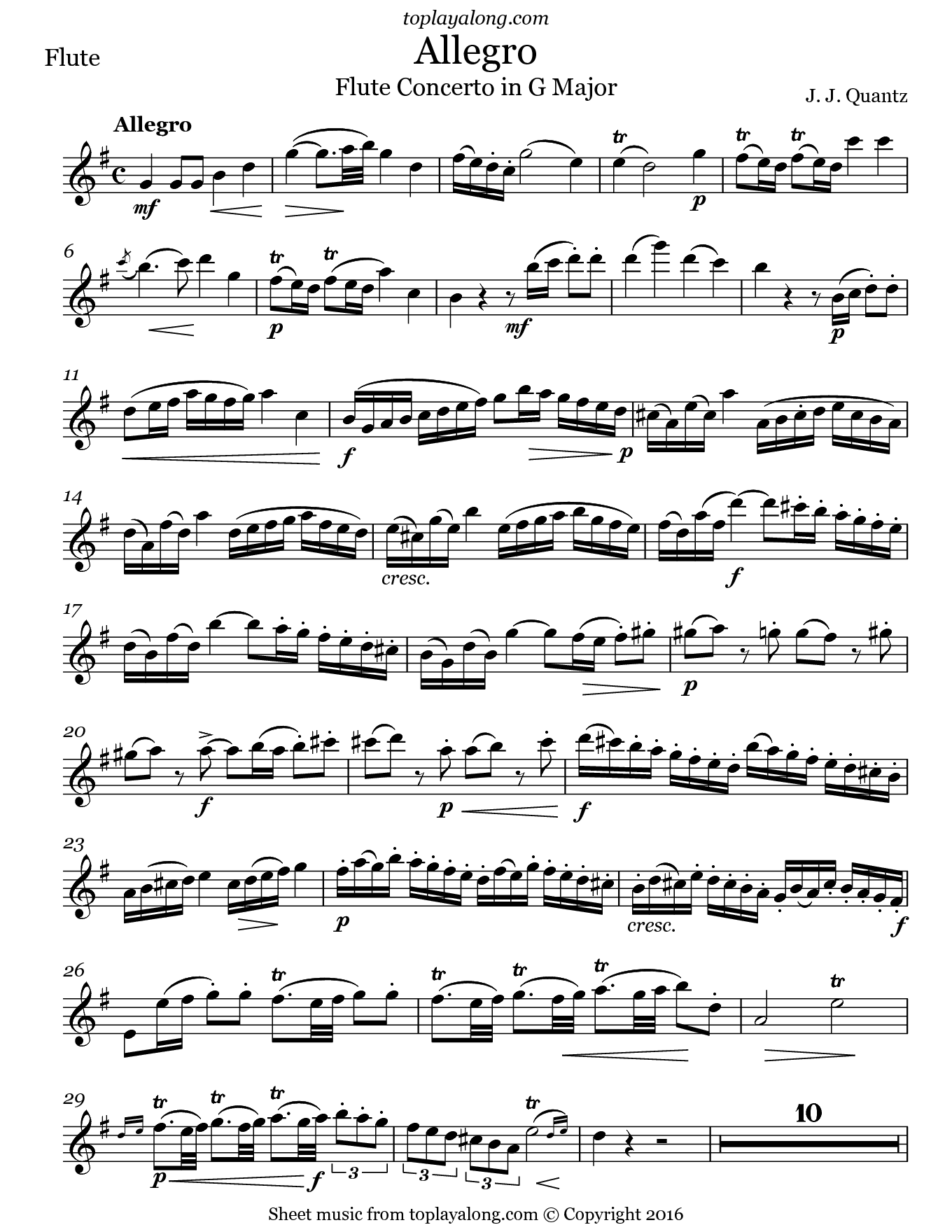 Allegro from Flute Concerto in G Major by Quantz. Sheet music for Flute, page 1.