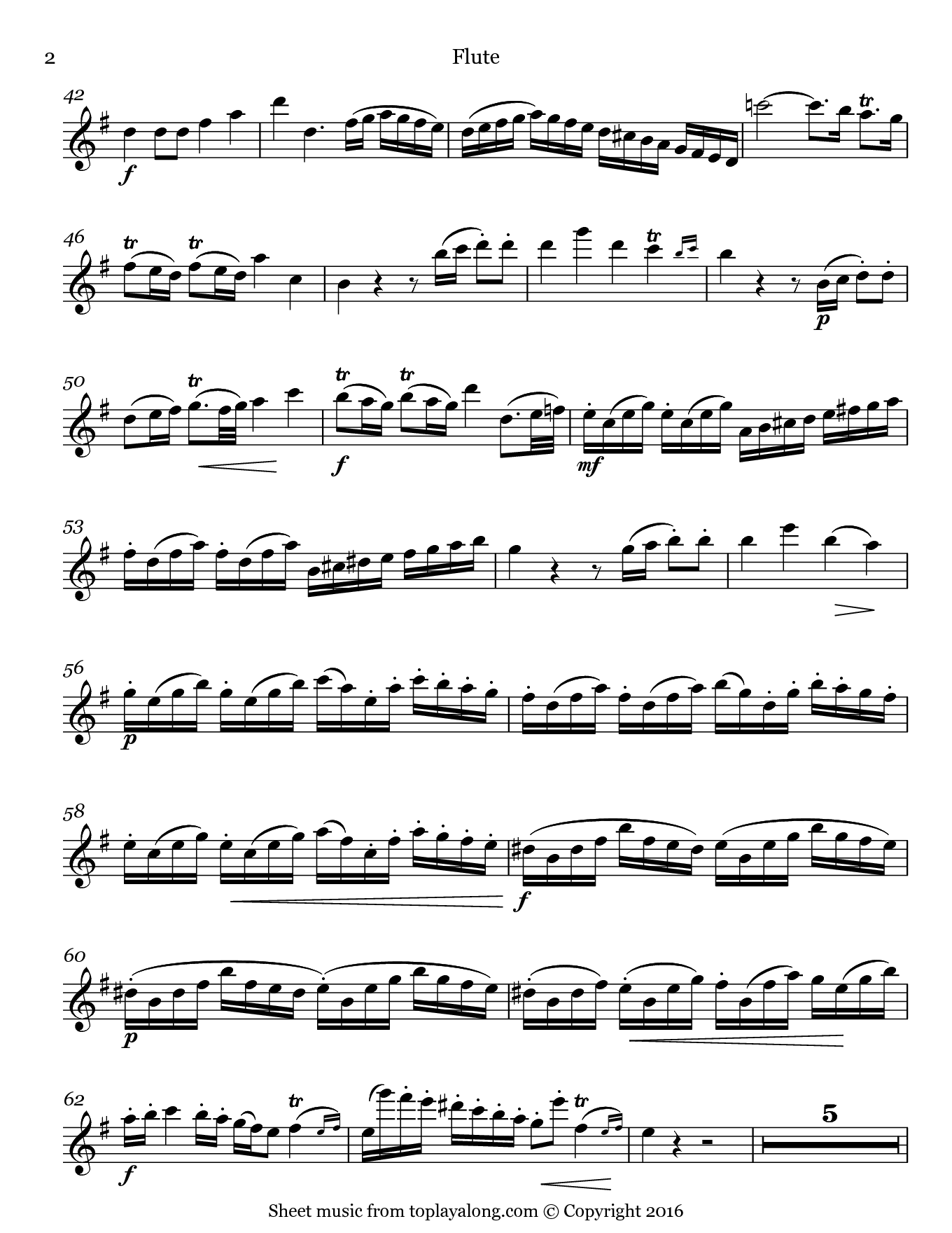 Allegro from Flute Concerto in G Major by Quantz. Sheet music for Flute, page 2.