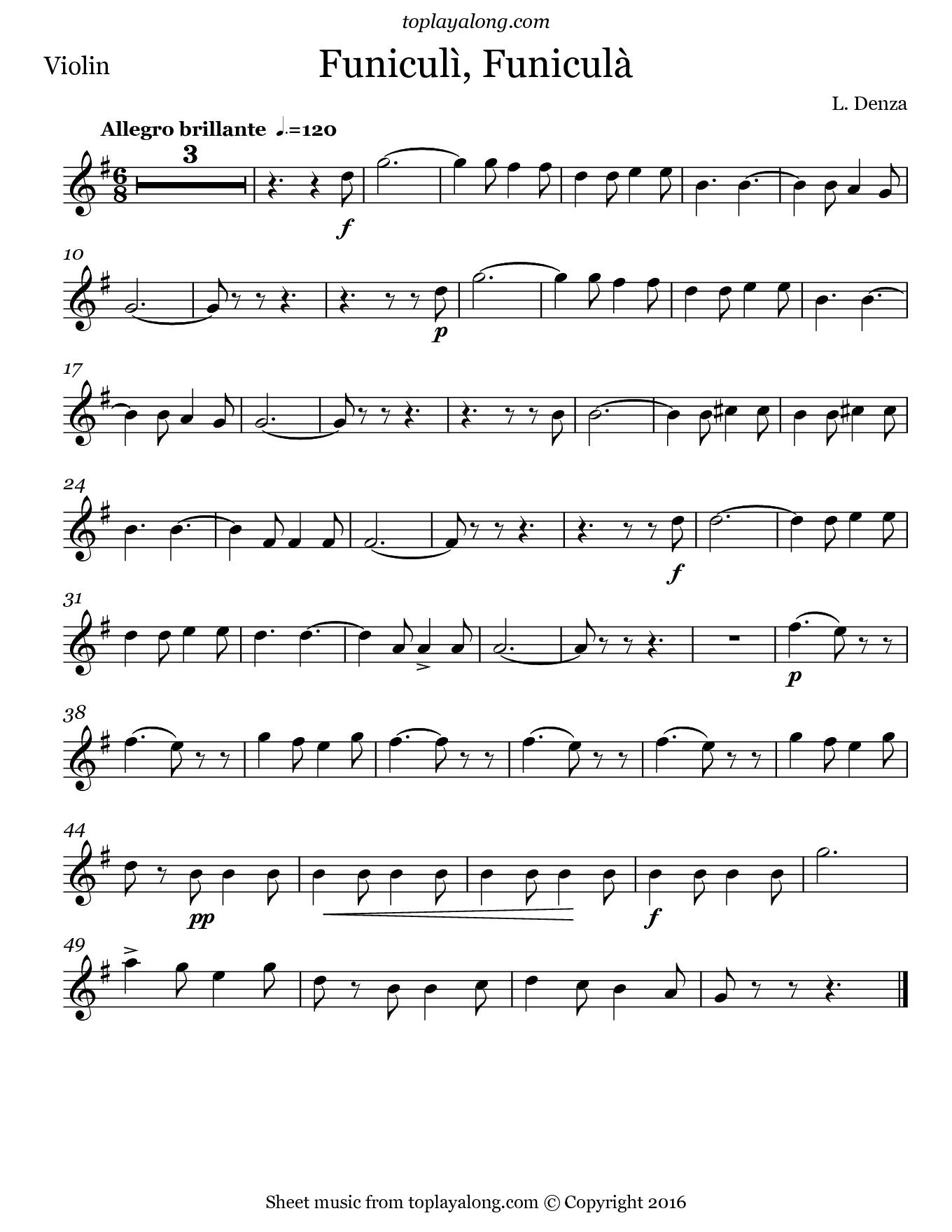 Funiculì, Funiculà by Denza. Sheet music for Violin, page 1.