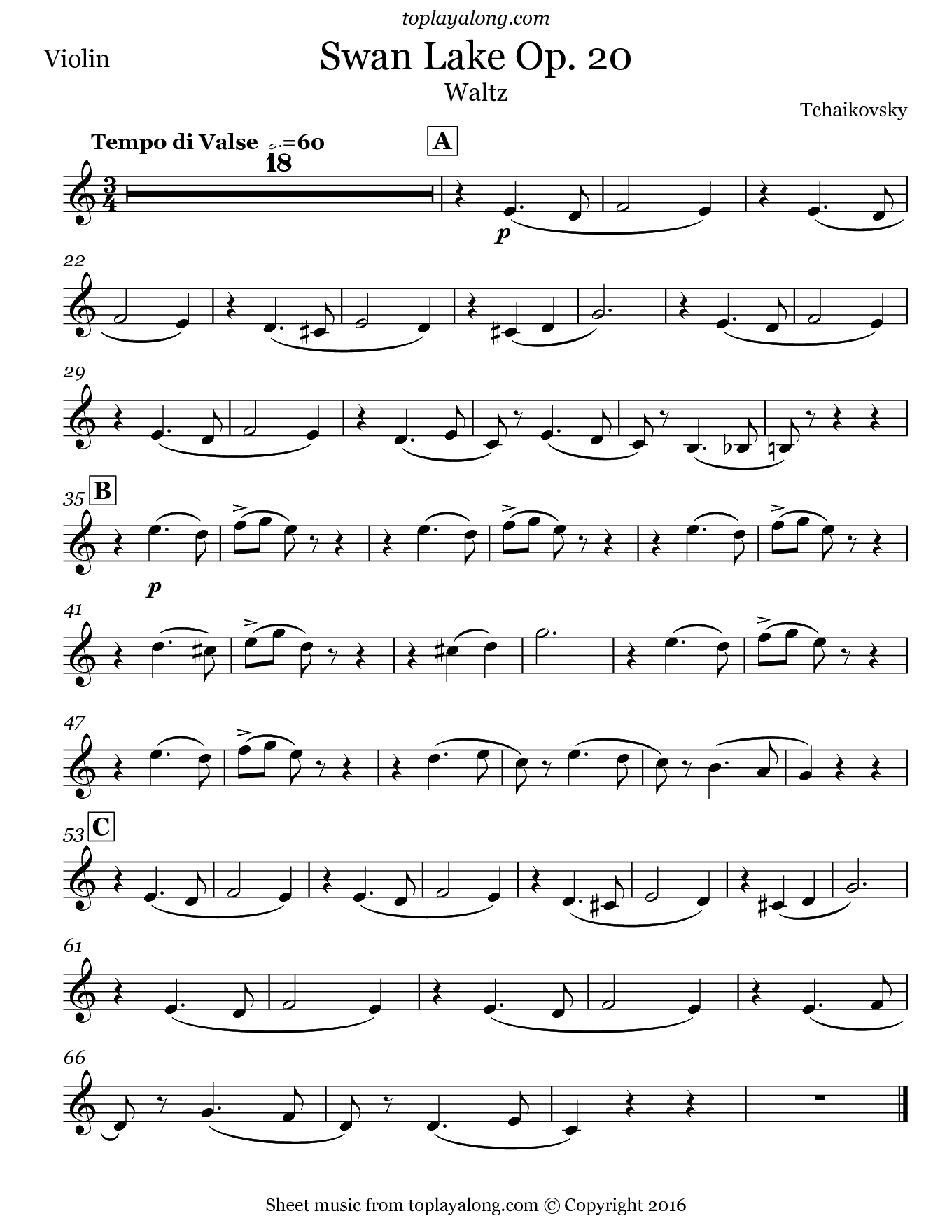 Swan Lake Op. 20 Waltz by Tchaikovsky. Sheet music for Violin, page 1.