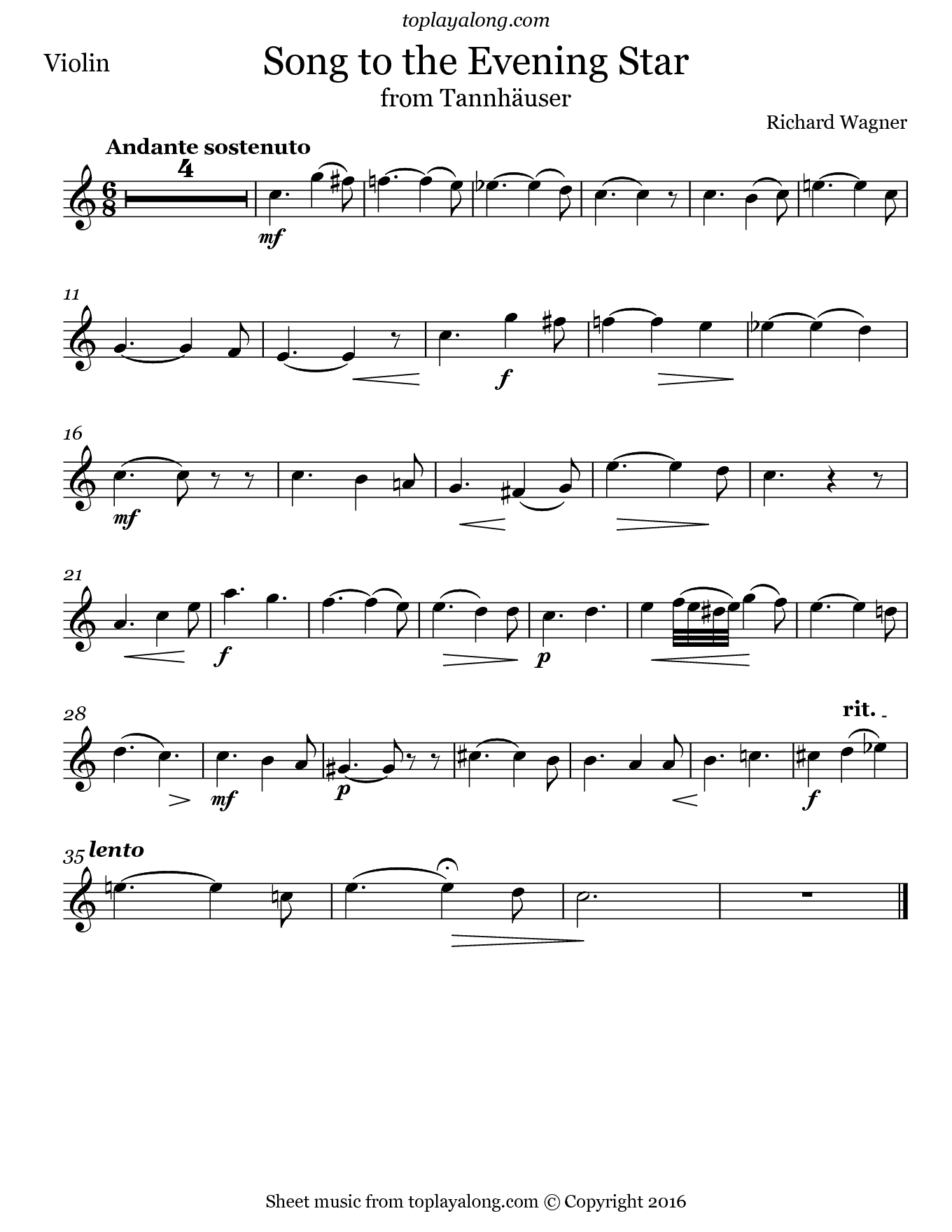 Song to the Evening Star from Tannhäuser by Wagner. Sheet music for Violin, page 1.