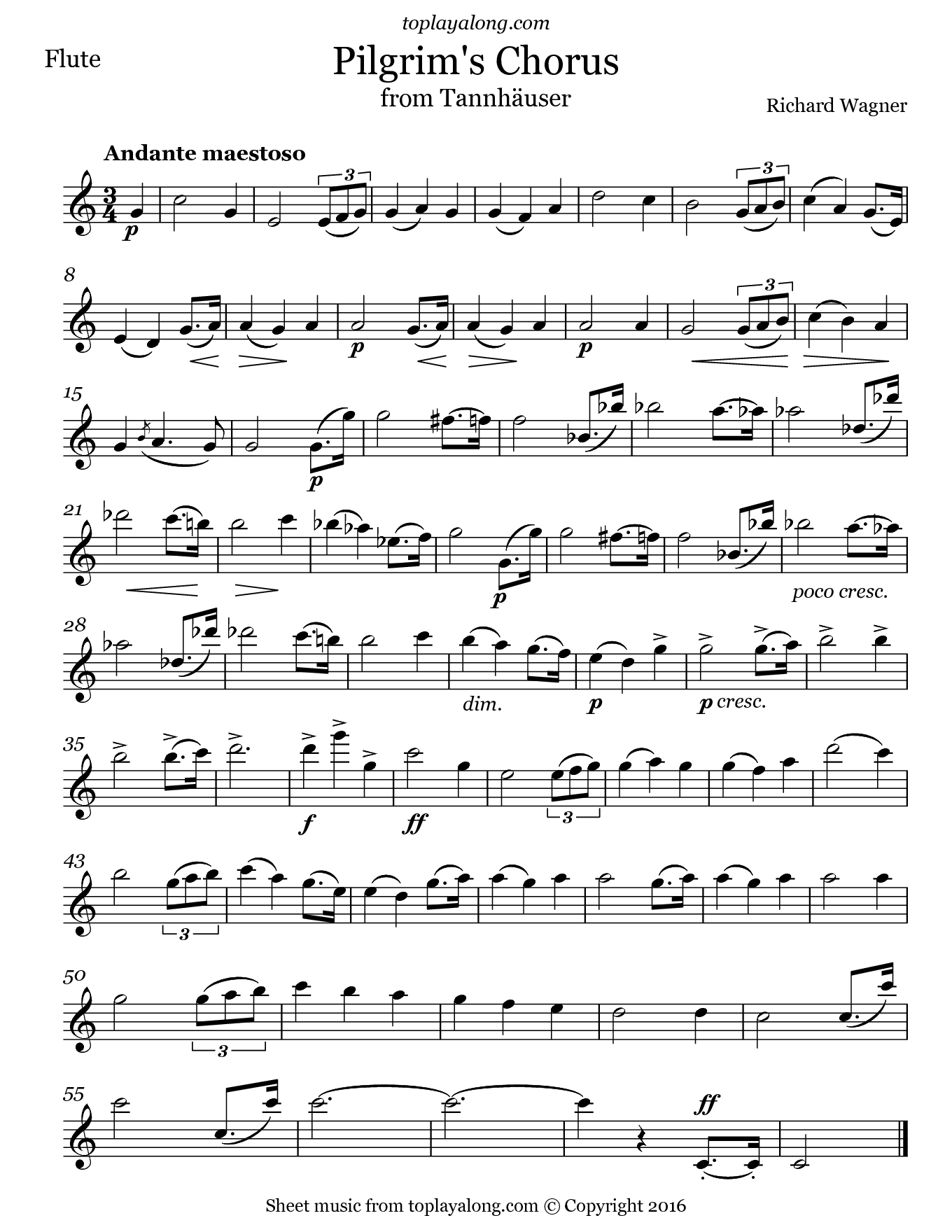 Pilgrim's Chorus from Tannhäuser by Wagner. Sheet music for Flute, page 1.