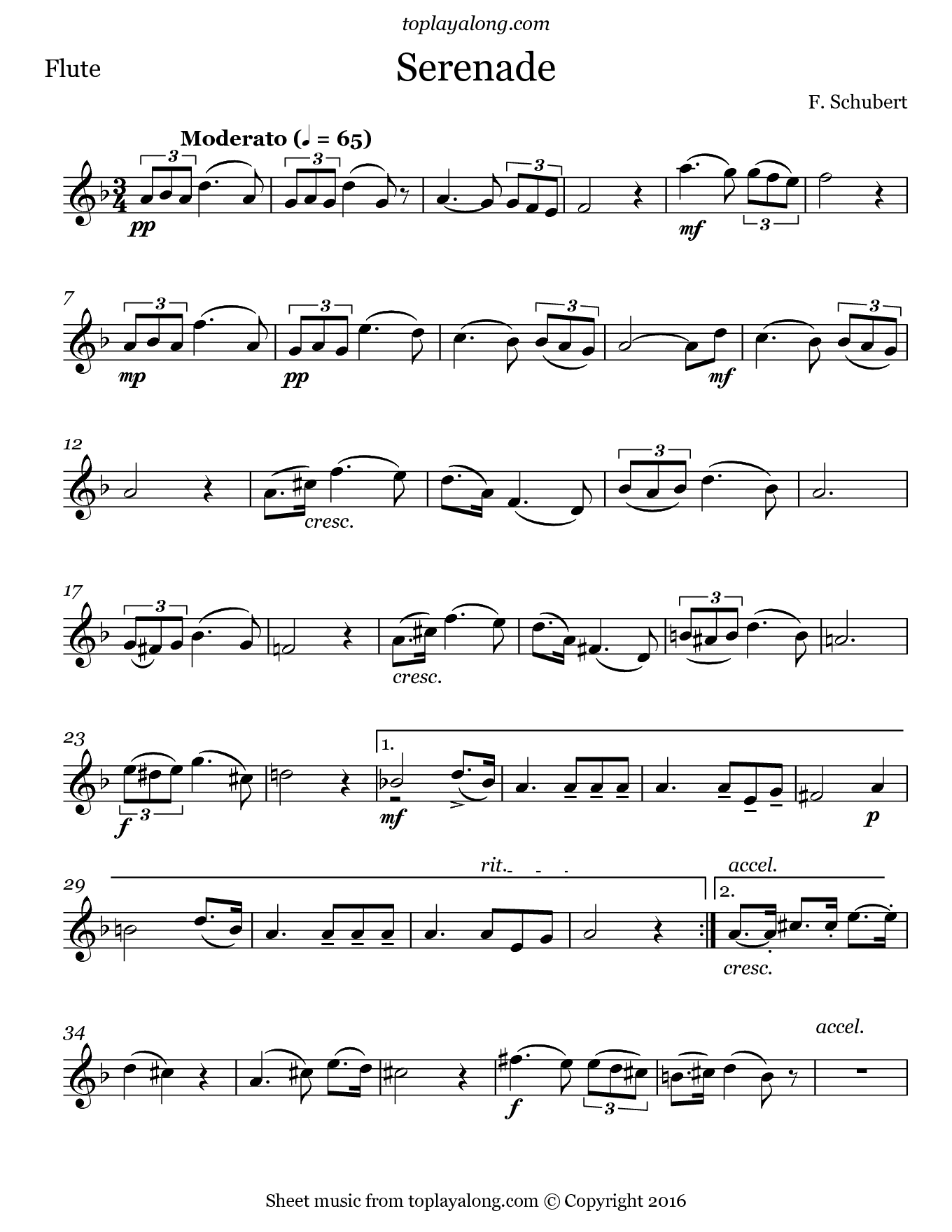 Serenade by Schubert. Sheet music for Flute, page 1.
