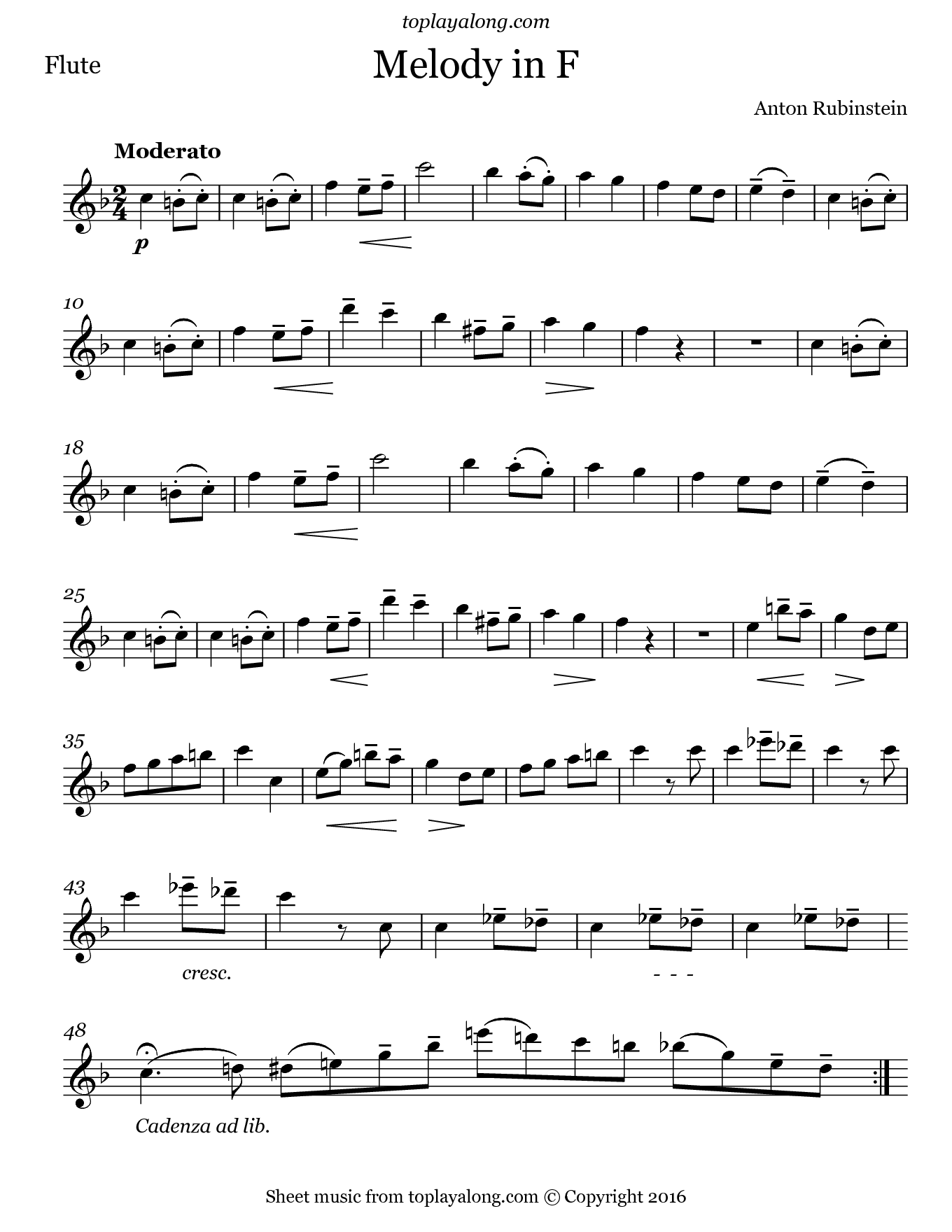 Melody in F by Rubinstein. Sheet music for Flute, page 1.