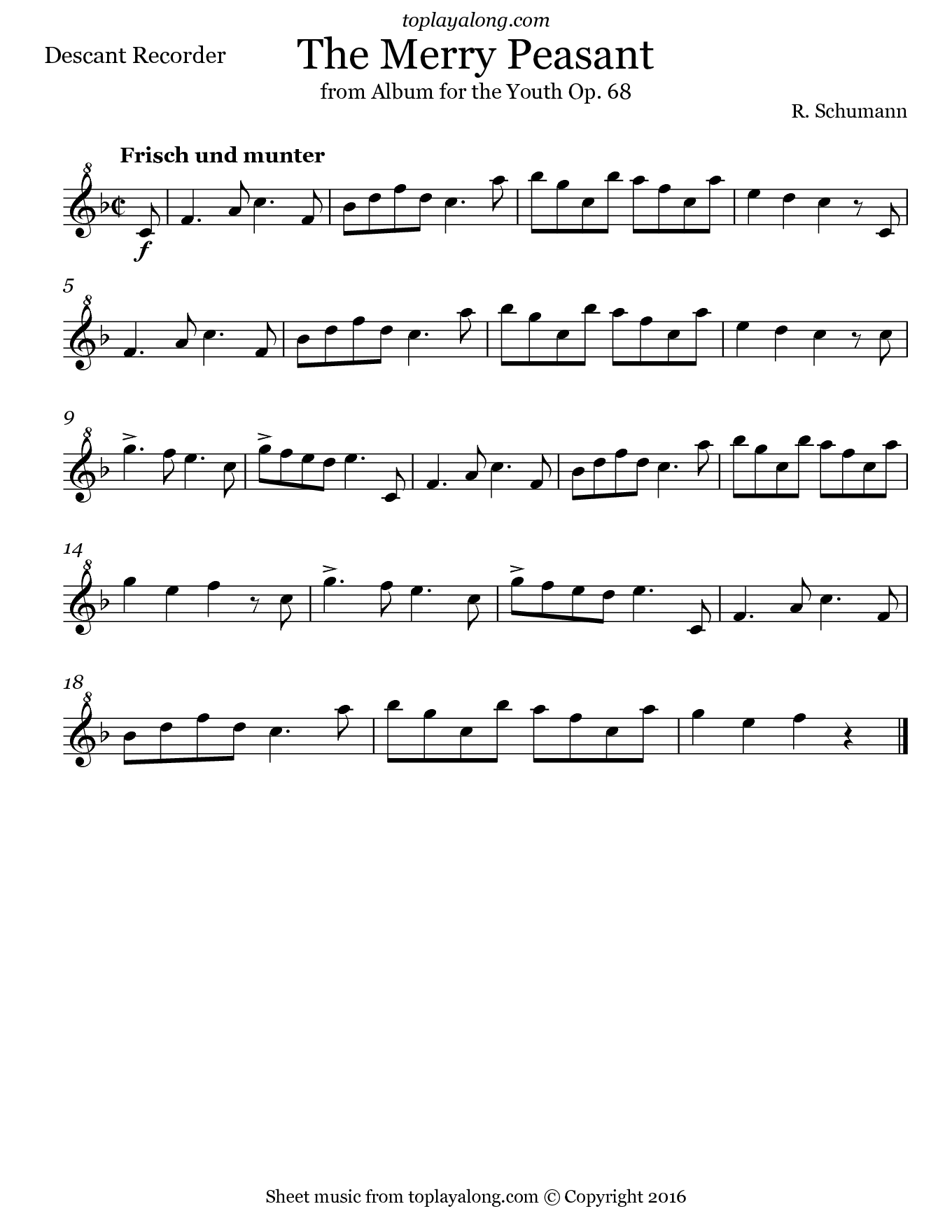 The Merry Peasant by Schumann. Sheet music for Recorder, page 1.