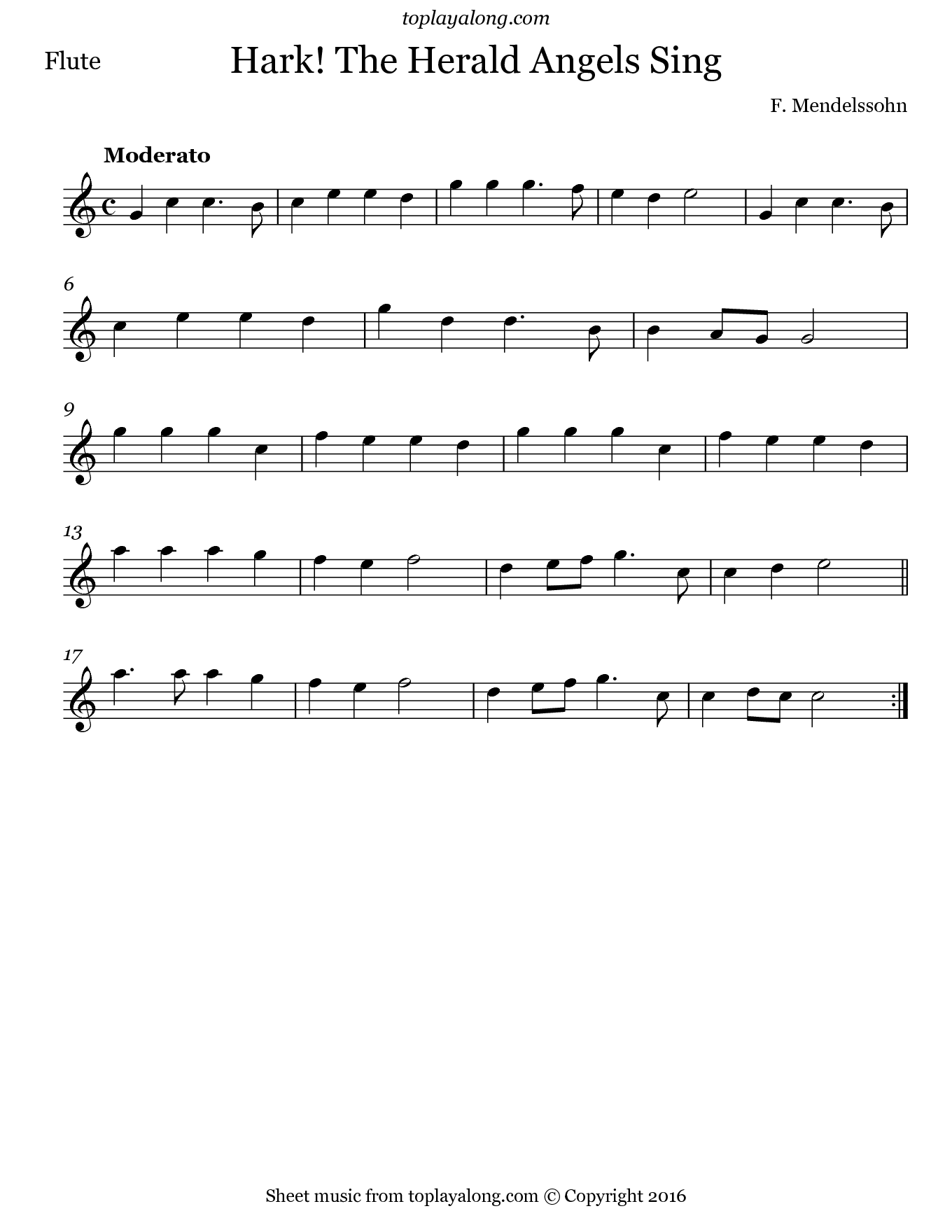 Hark! The Herald Angels Sing by Mendelssohn. Sheet music for Flute, page 1.