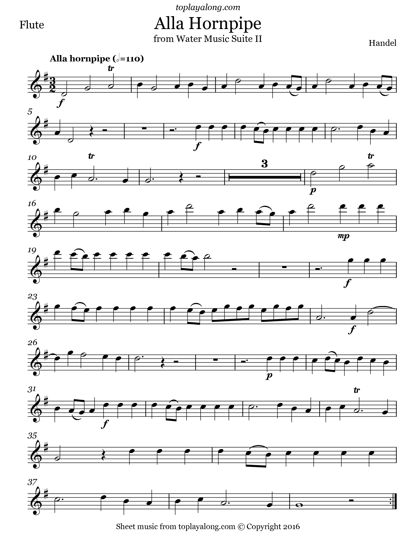 Alla Hornpipe from Water Music Suite II by Handel. Sheet music for Flute, page 1.