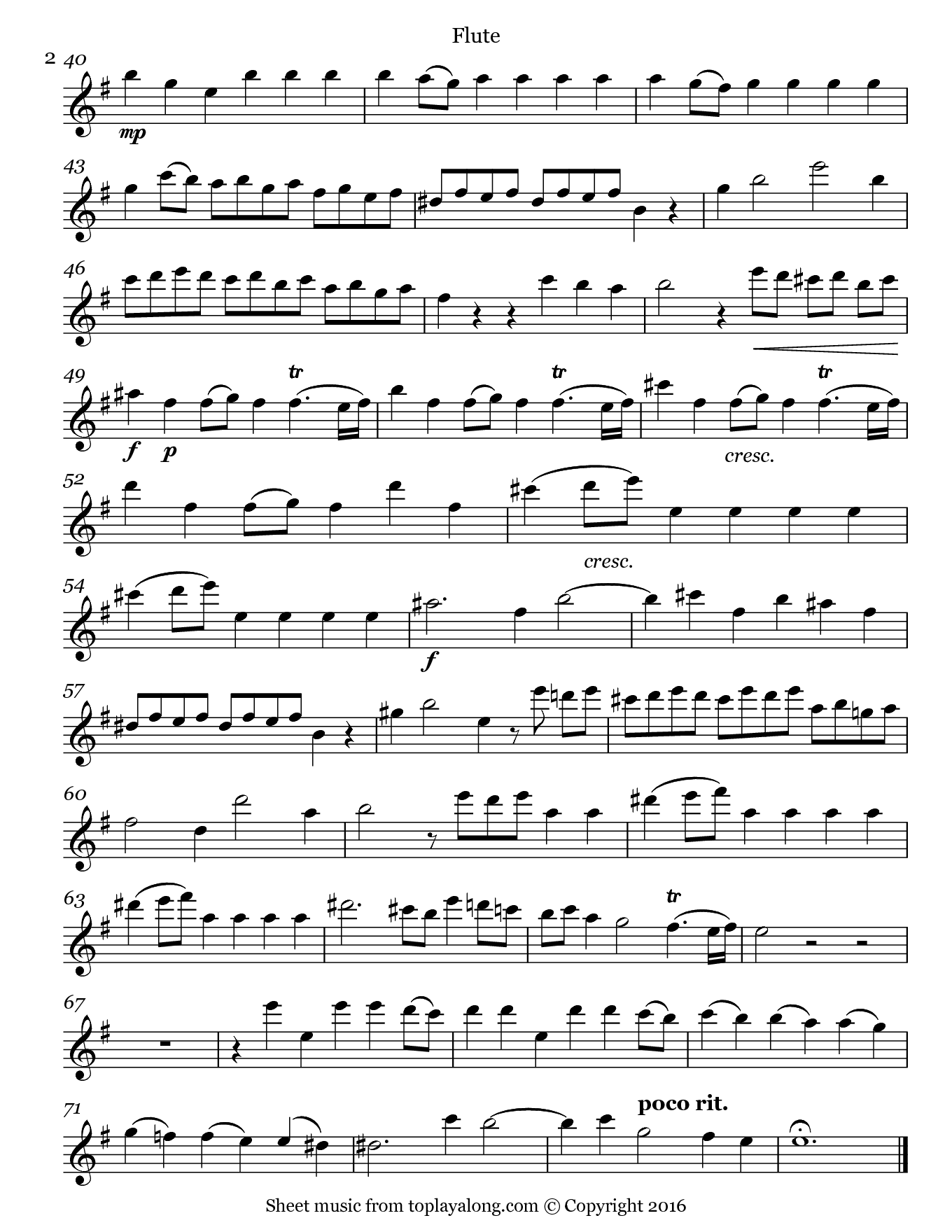 Alla Hornpipe from Water Music Suite II by Handel. Sheet music for Flute, page 2.
