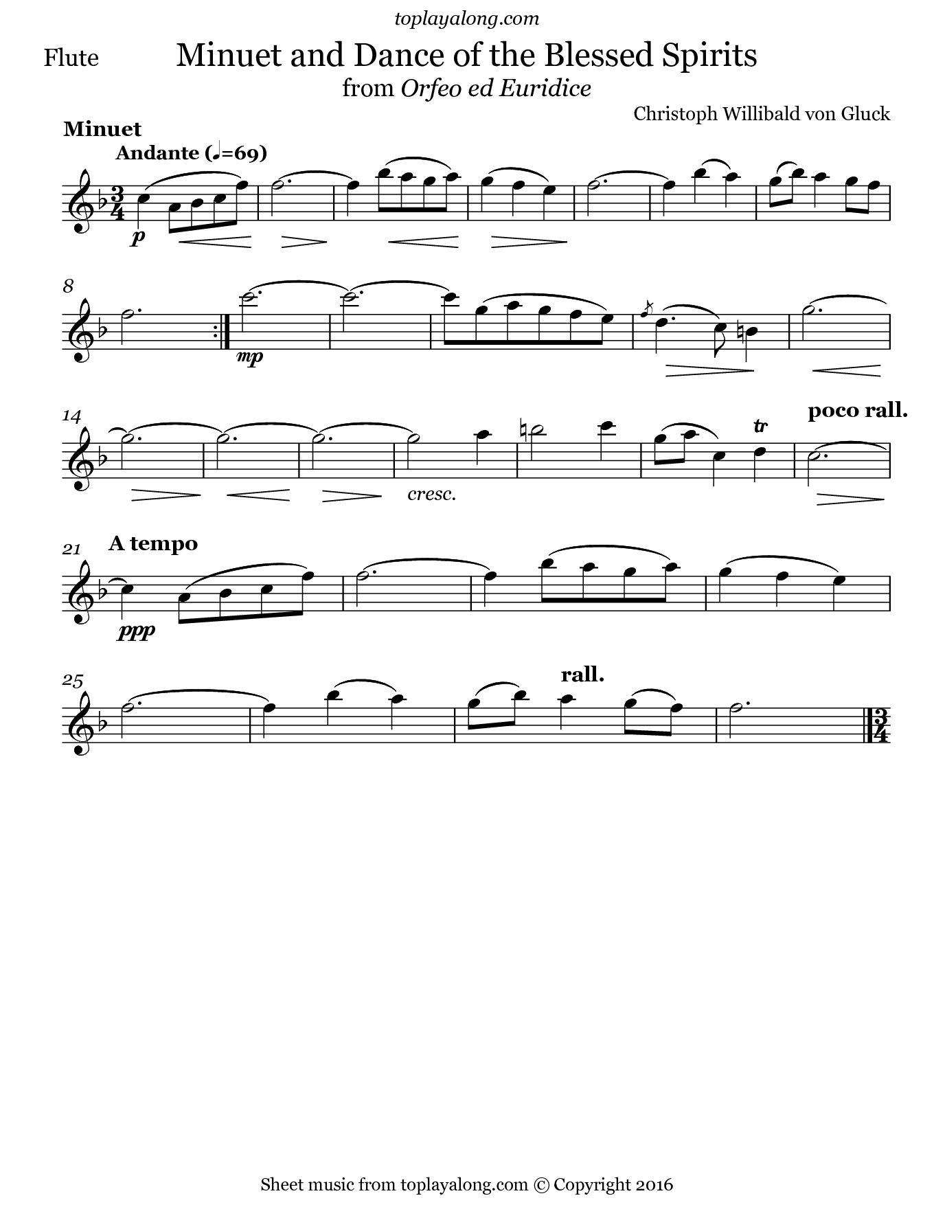 Dance of the Blessed Spirits by Gluck. Sheet music for Flute, page 1.