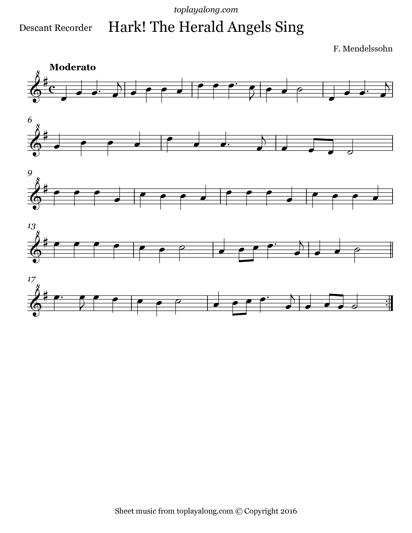 Hark! The Herald Angels Sing by Mendelssohn. Sheet music for Recorder, page 1.