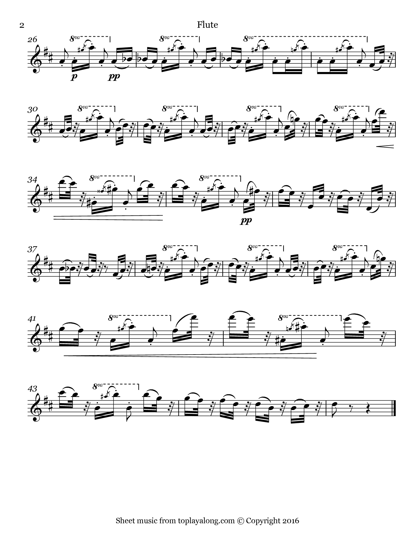 Dance of the Hours from La Gioconda by Ponchielli. Sheet music for Flute, page 2.