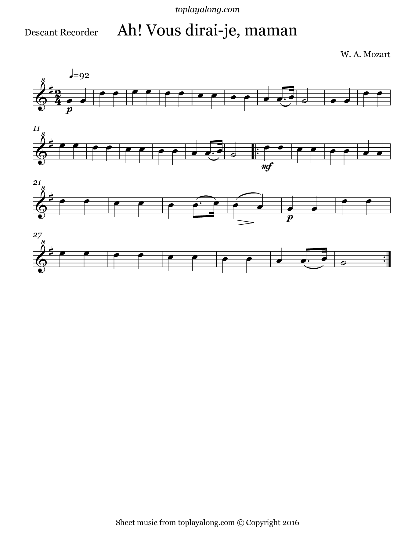 Ah! Vous dirai-je, maman by Mozart. Sheet music for Recorder, page 1.