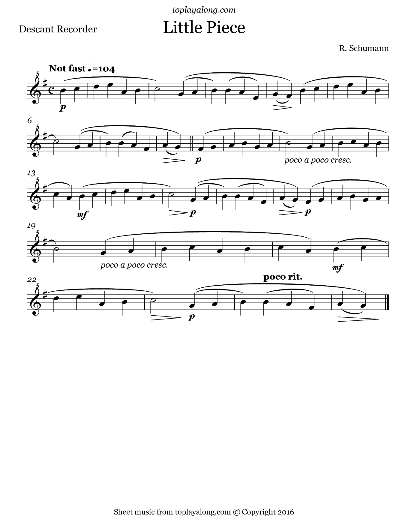 Little Piece by Schumann. Sheet music for Recorder, page 1.