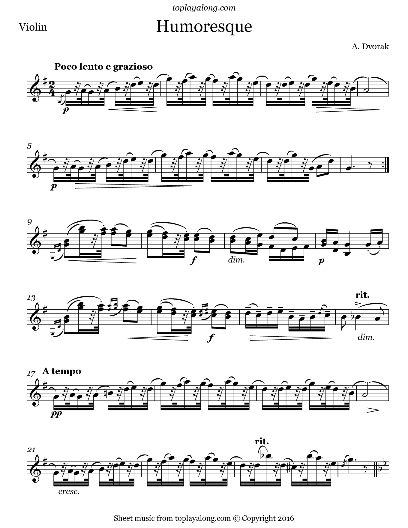 Humoresque No. 7 by Dvorak. Sheet music for Violin, page 1.