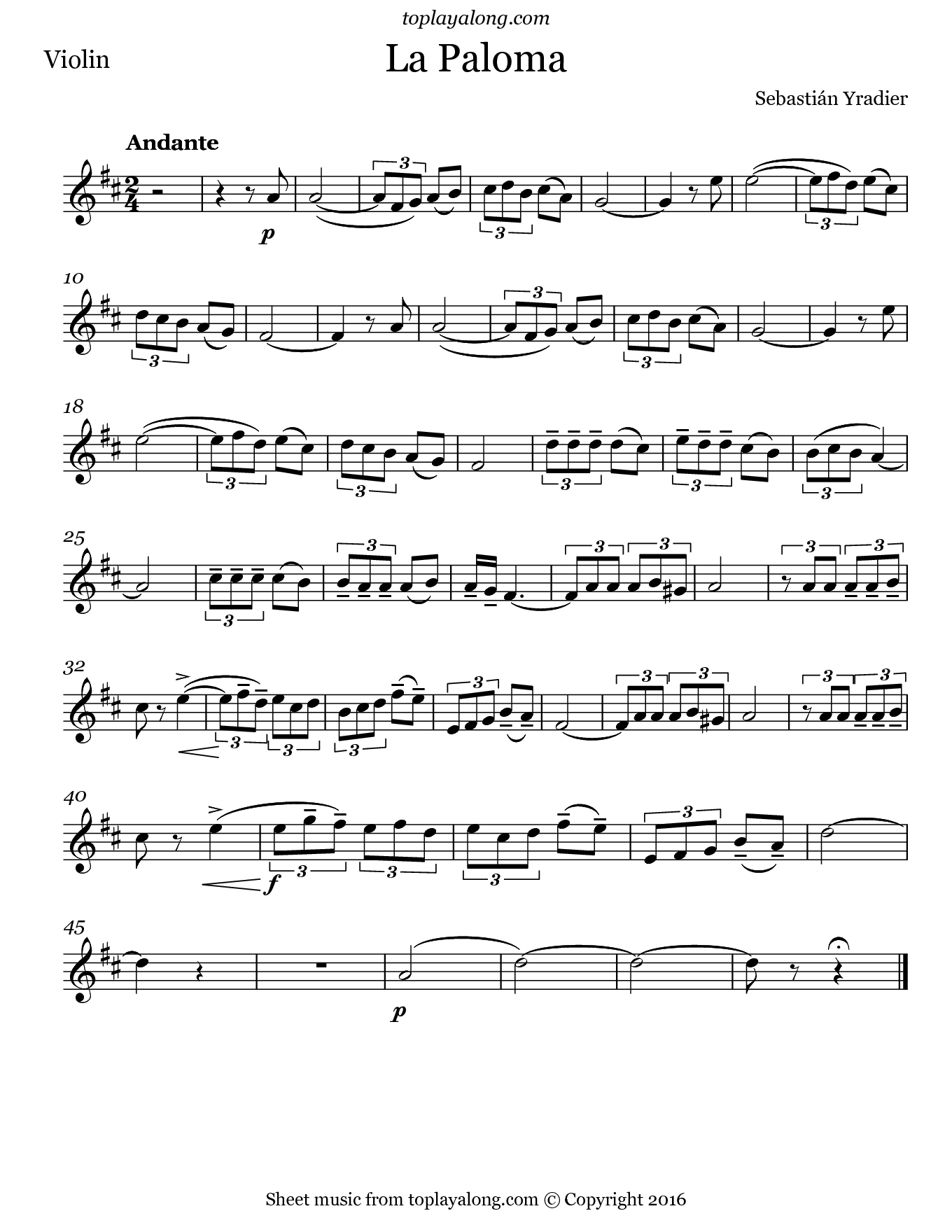 La Paloma by Yradier. Sheet music for Violin, page 1.
