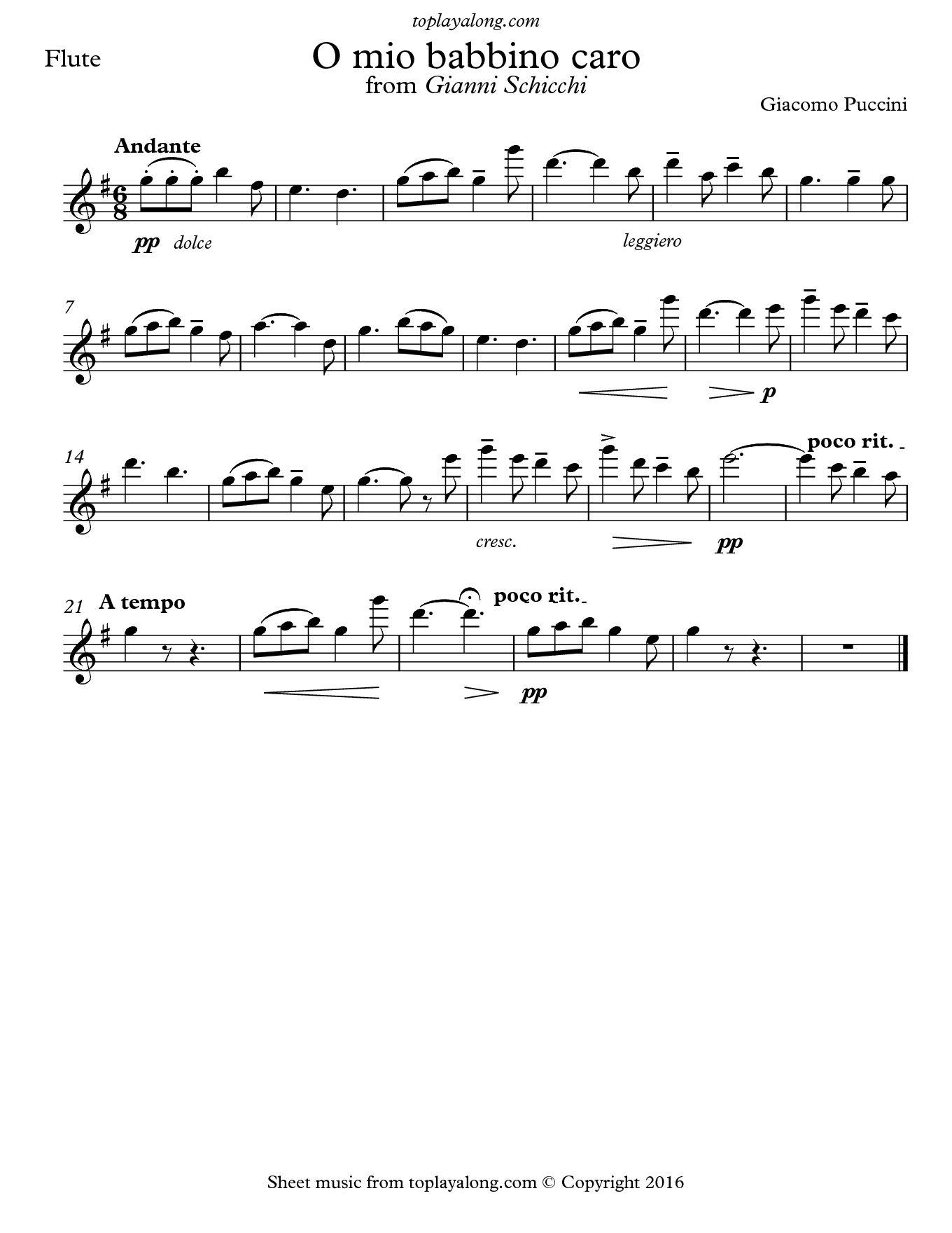 O mio babbino caro by Puccini. Sheet music for Flute, page 1.