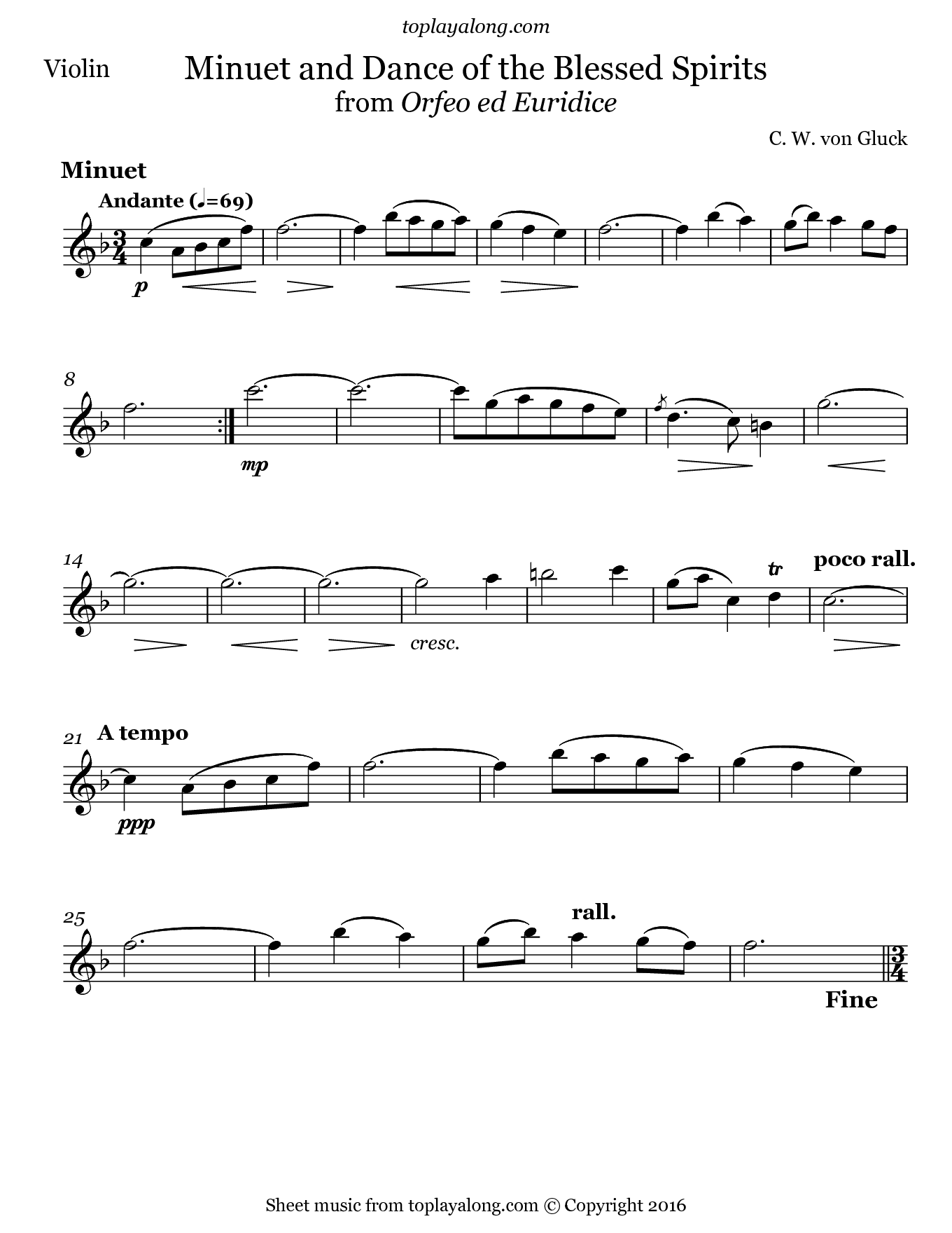 Dance of the Blessed Spirits by Gluck. Sheet music for Violin, page 1.