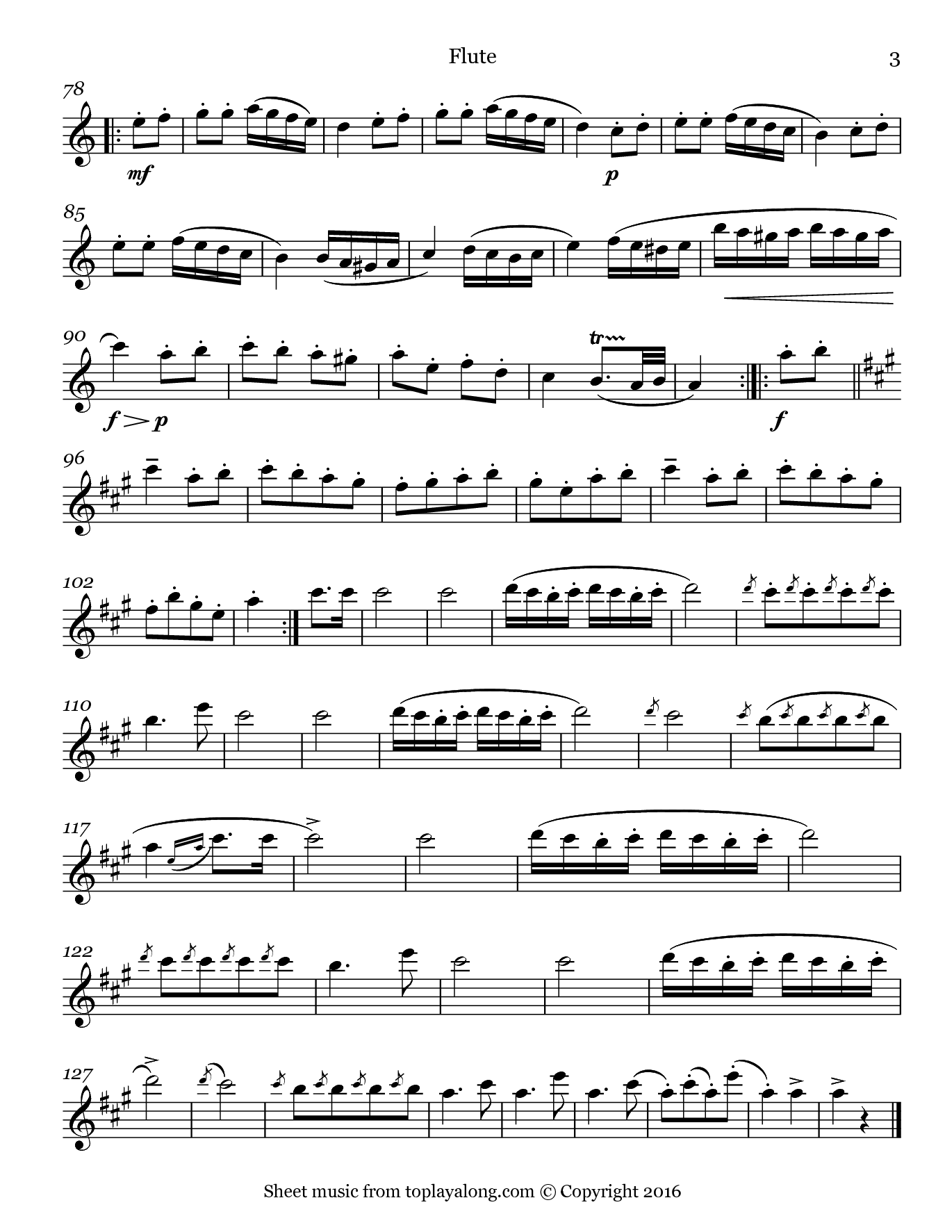 Rondo Alla Turca (Turkish March) by Mozart. Sheet music for Flute, page 3.