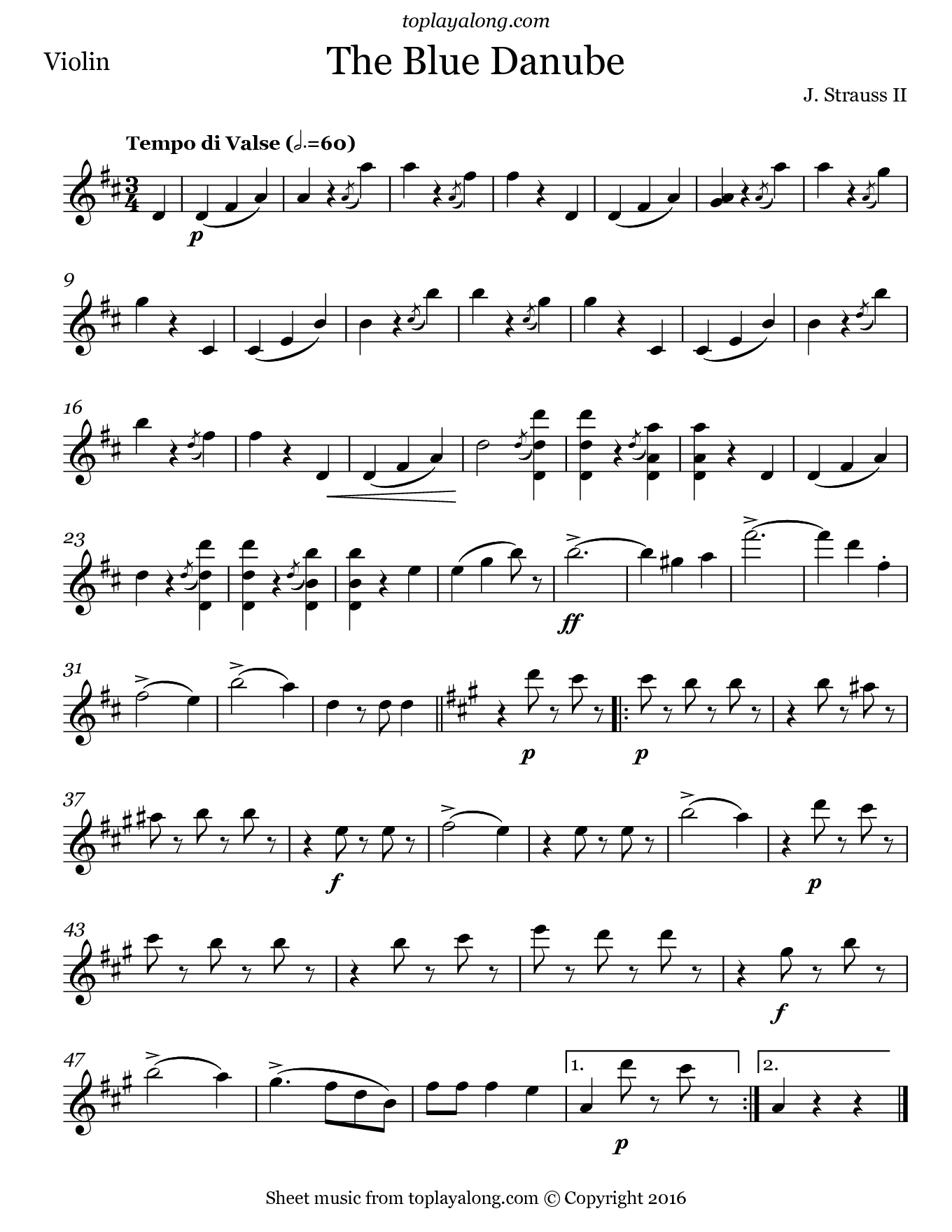 The Blue Danube Waltz by Strauss. Sheet music for Violin, page 1.