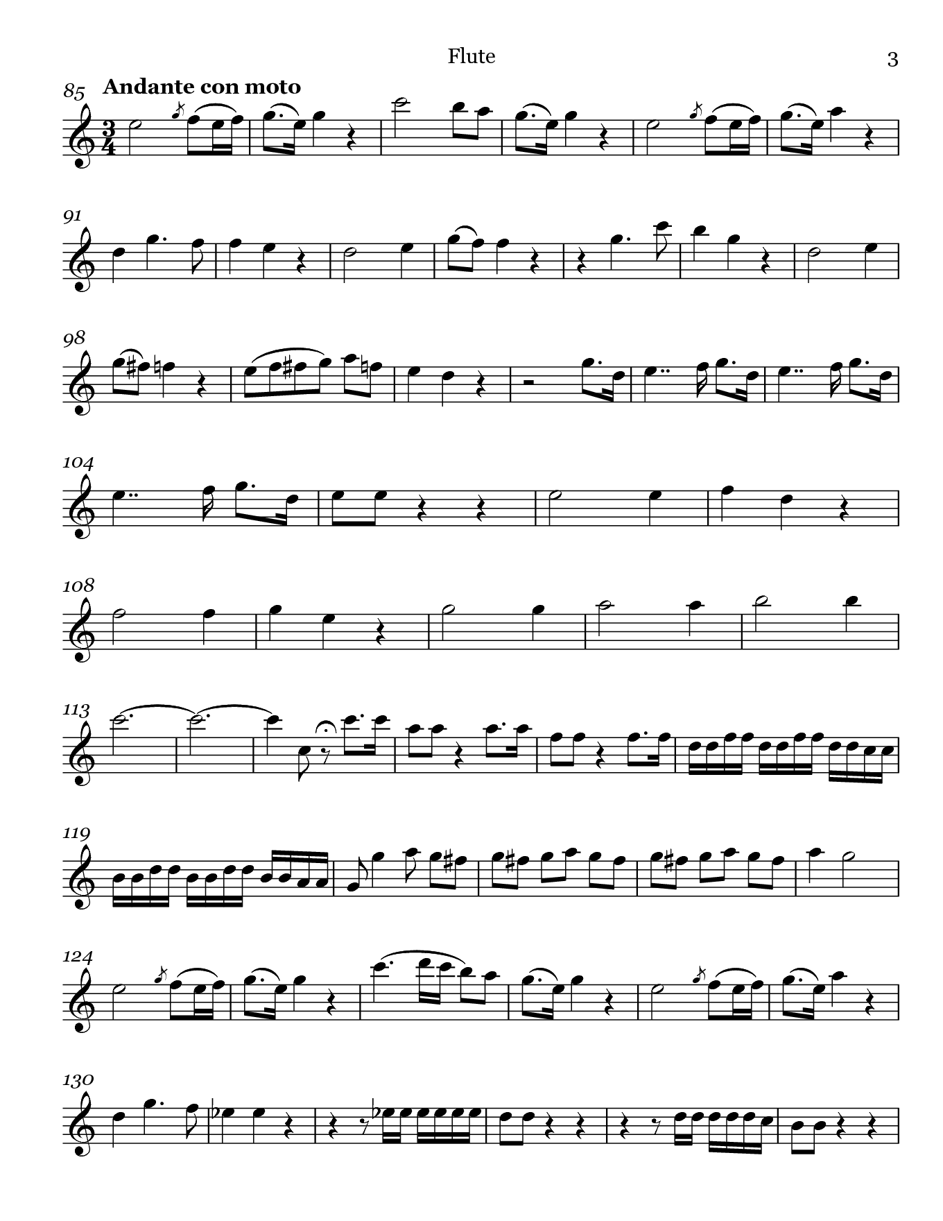 Madamina from Don Giovanni by Mozart. Sheet music for Flute, page 3.