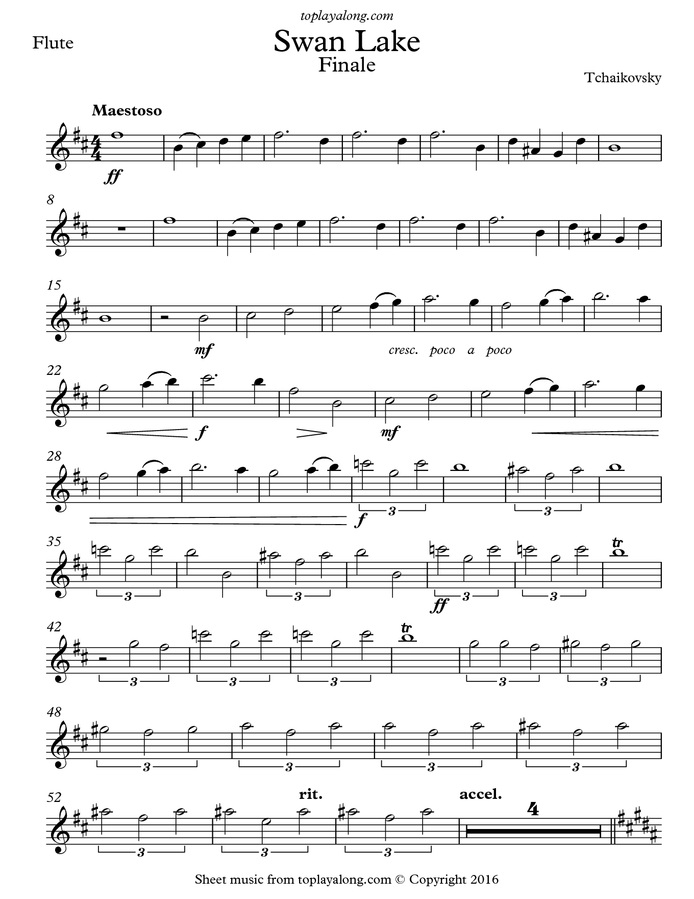 Swan Lake Finale by Tchaikovsky. Sheet music for Flute, page 1.