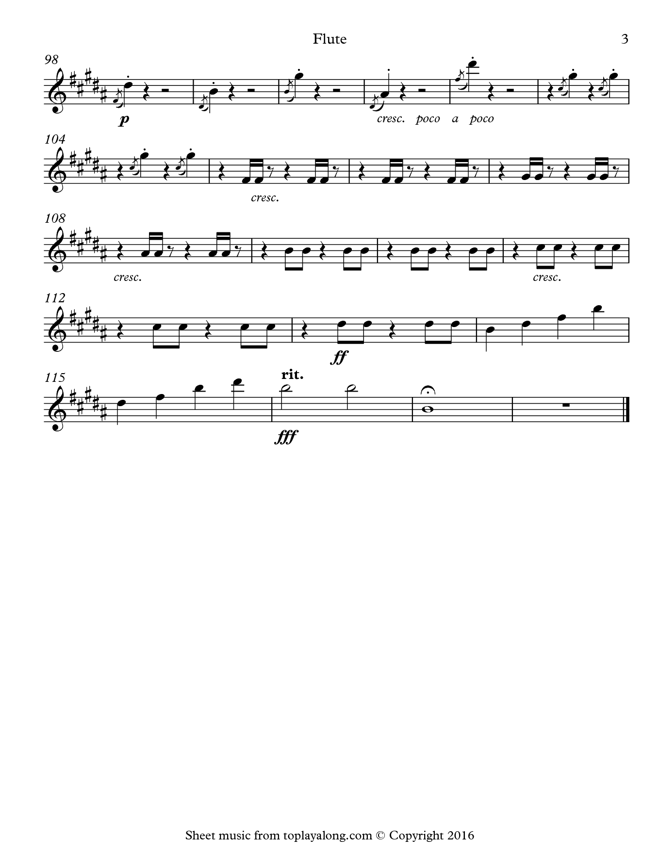 Swan Lake Finale by Tchaikovsky. Sheet music for Flute, page 3.