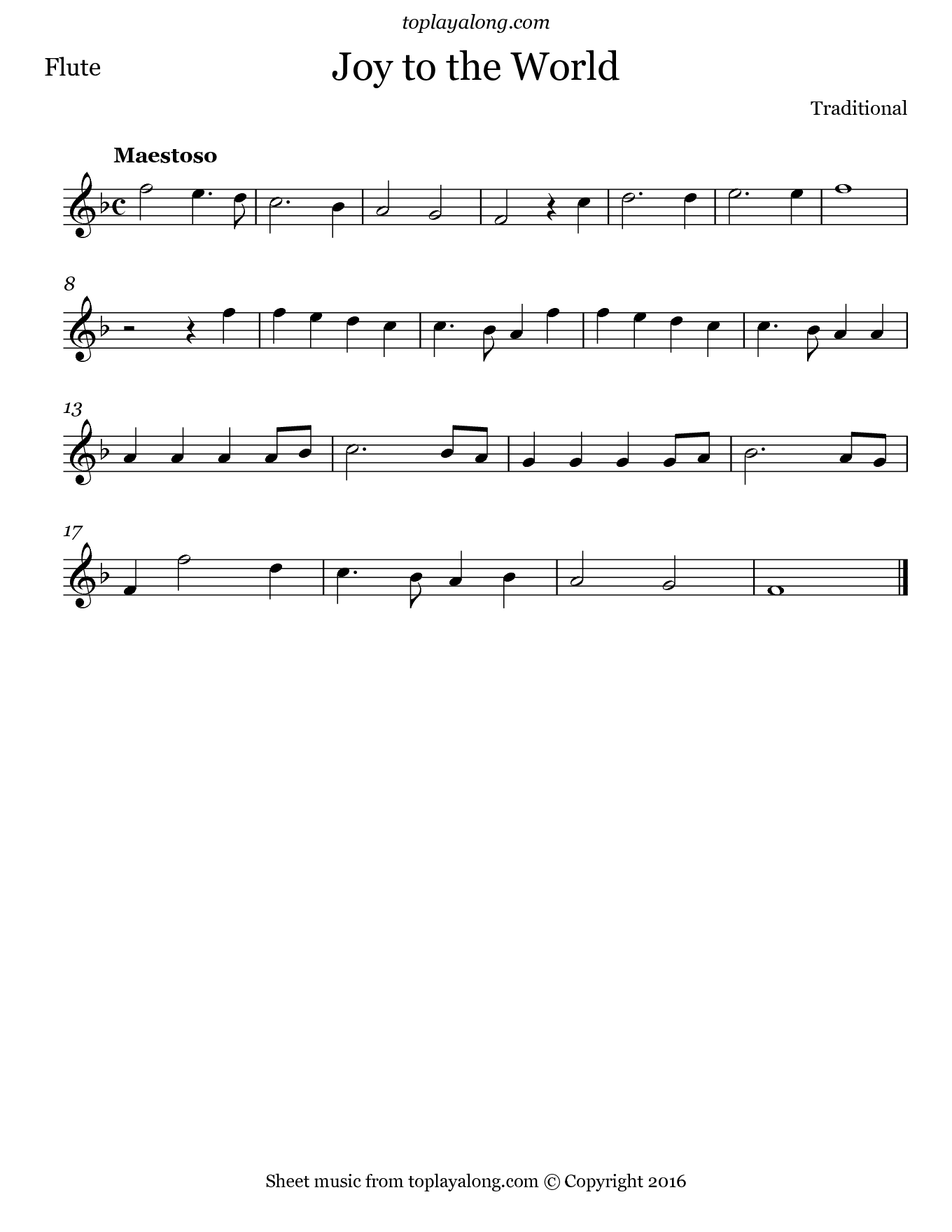 Joy to the World. Sheet music for Flute, page 1.
