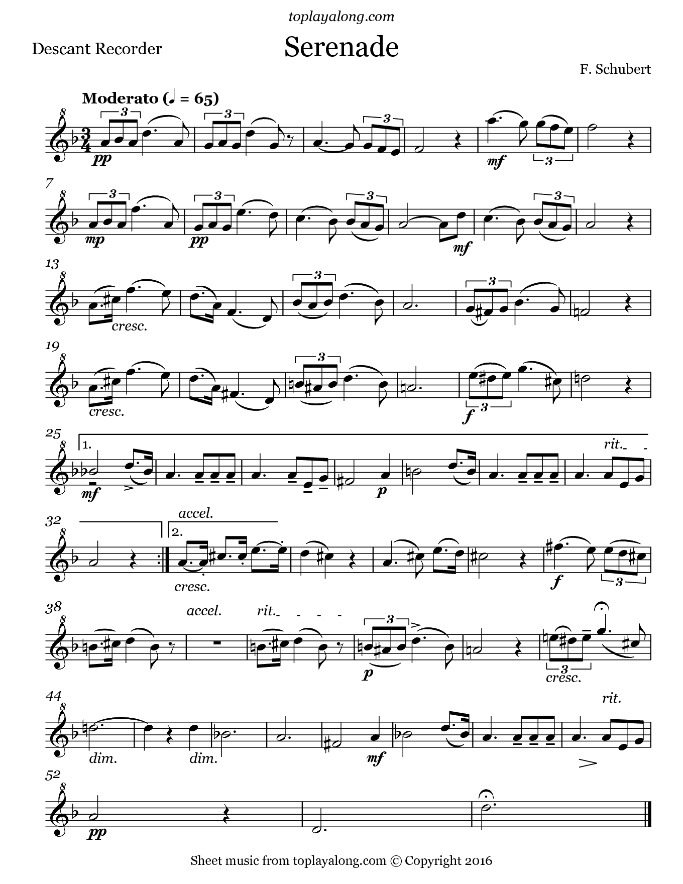 Serenade by Schubert. Sheet music for Recorder, page 1.