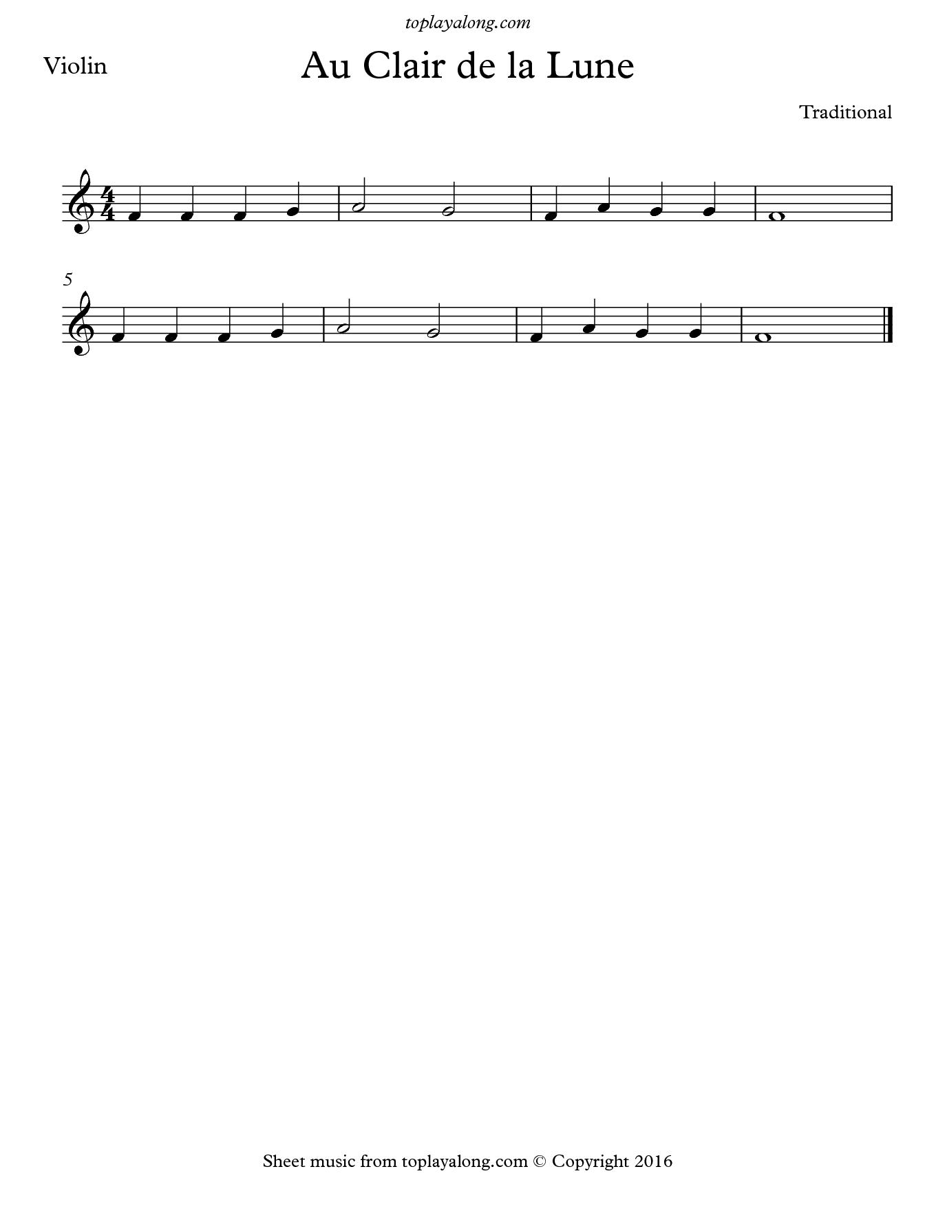 Au Clair de la Lune. Sheet music for Violin, page 1.