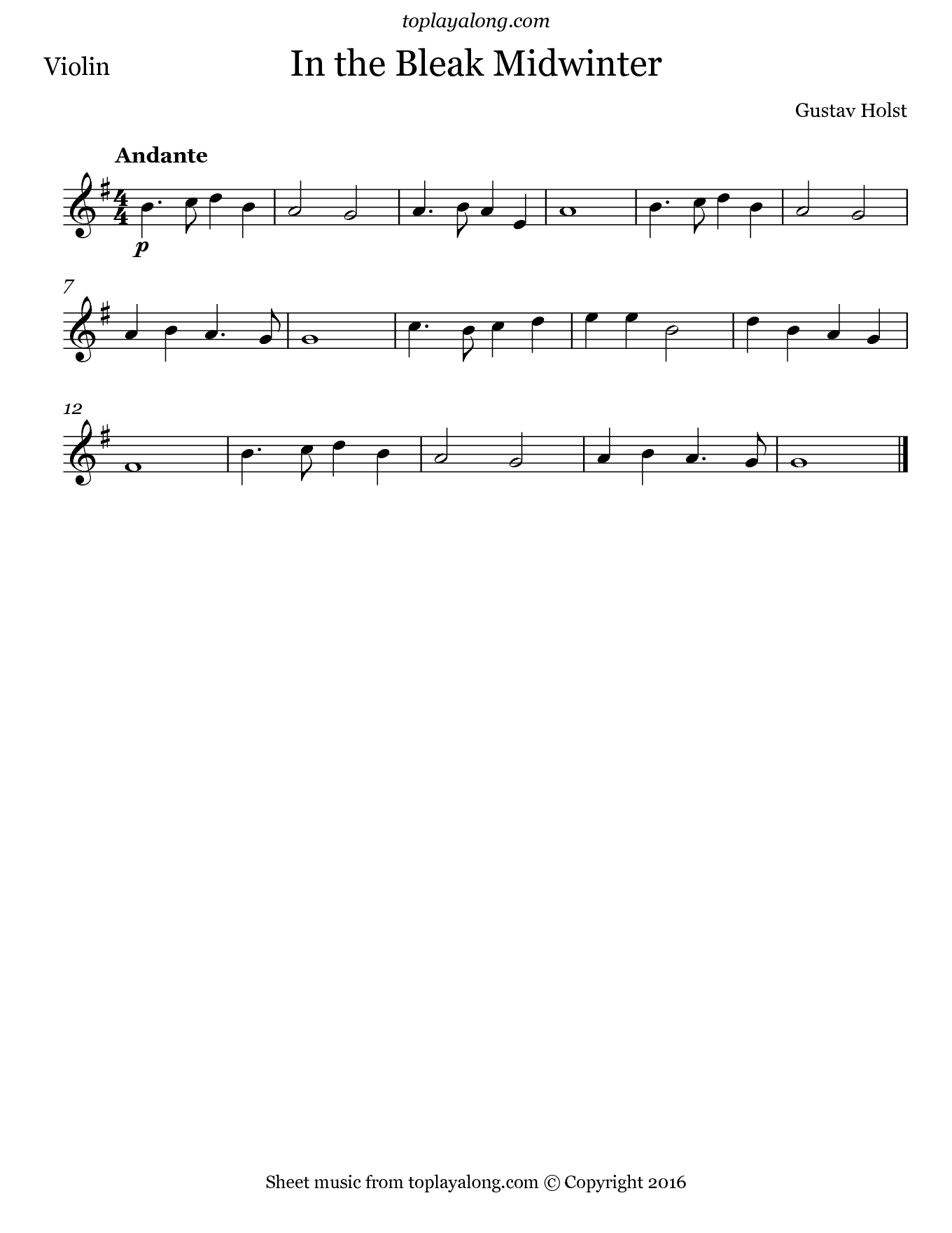 In the Bleak Midwinter by Holst. Sheet music for Violin, page 1.