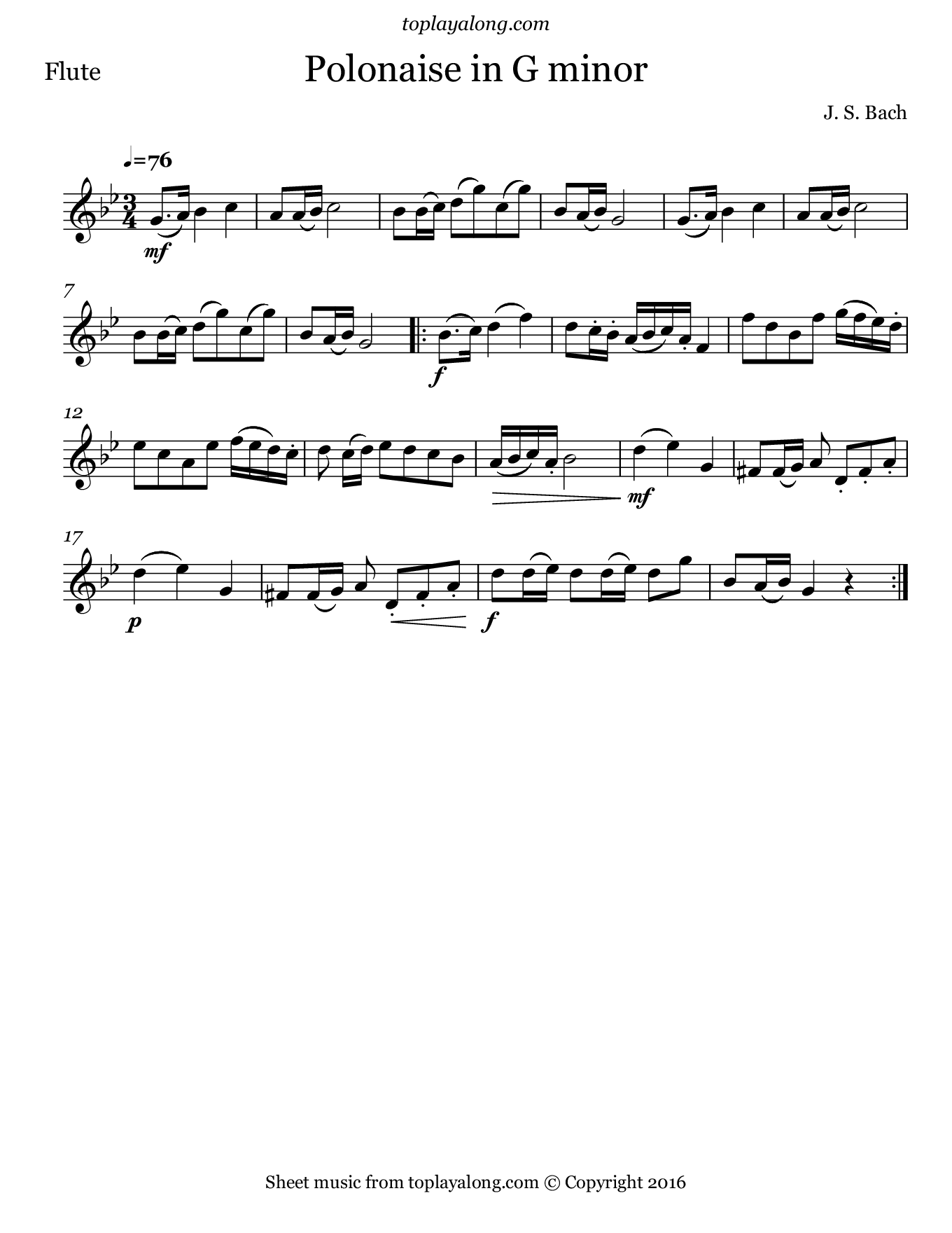 Polonaise in G minor by J. S. Bach. Sheet music for Flute, page 1.