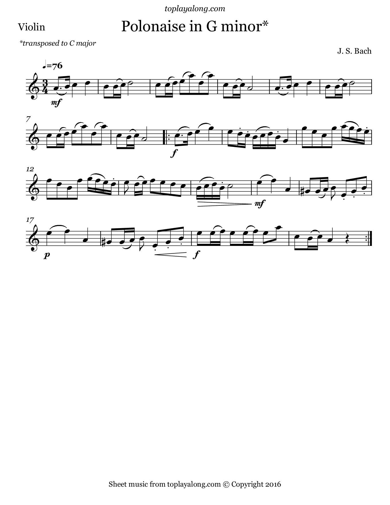 Polonaise in G minor by J. S. Bach. Sheet music for Violin, page 1.