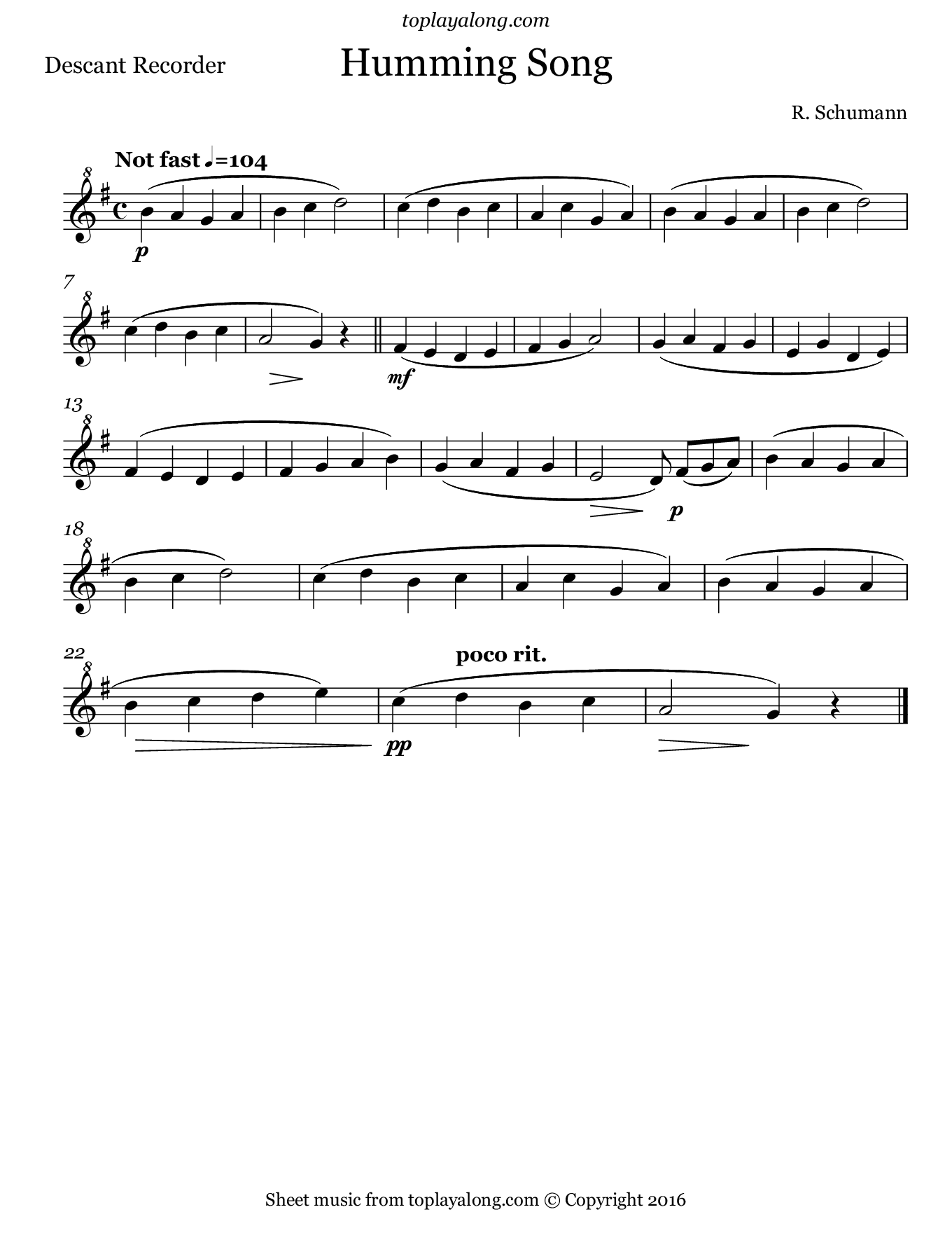 Humming Song by Schumann. Sheet music for Recorder, page 1.