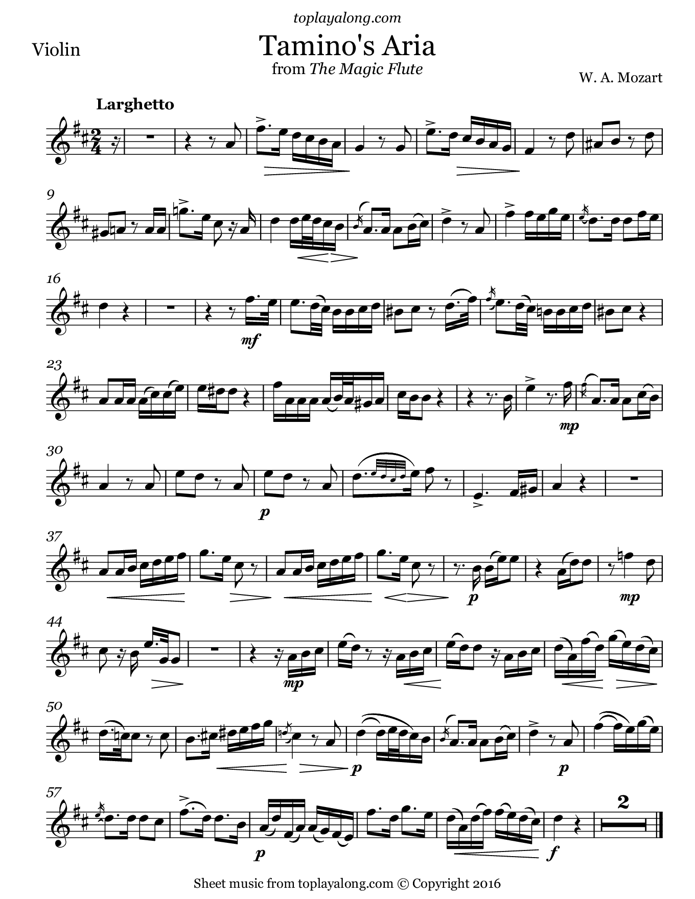 Tamino's Aria from The Magic Flute by Mozart. Sheet music for Violin, page 1.