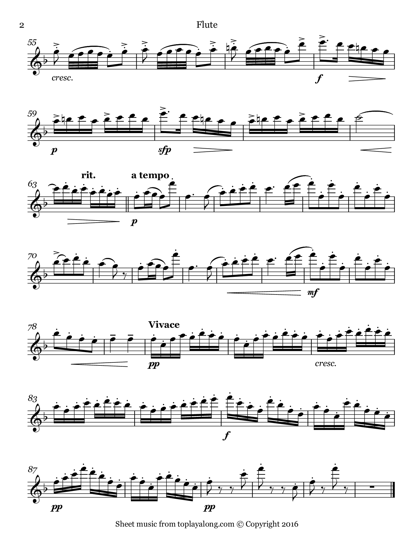 Tambourin by Gossec. Sheet music for Flute, page 2.