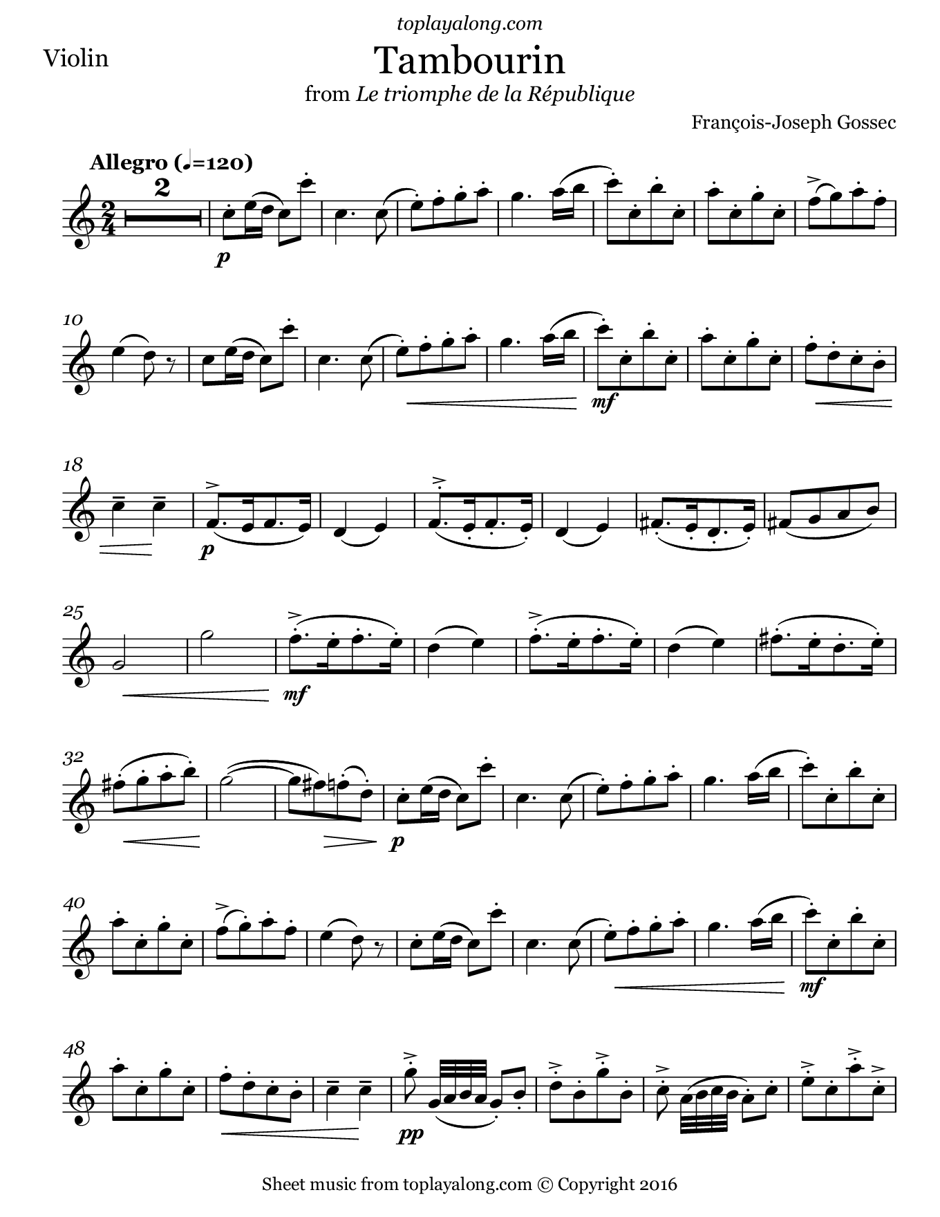 Tambourin by Gossec. Sheet music for Violin, page 1.