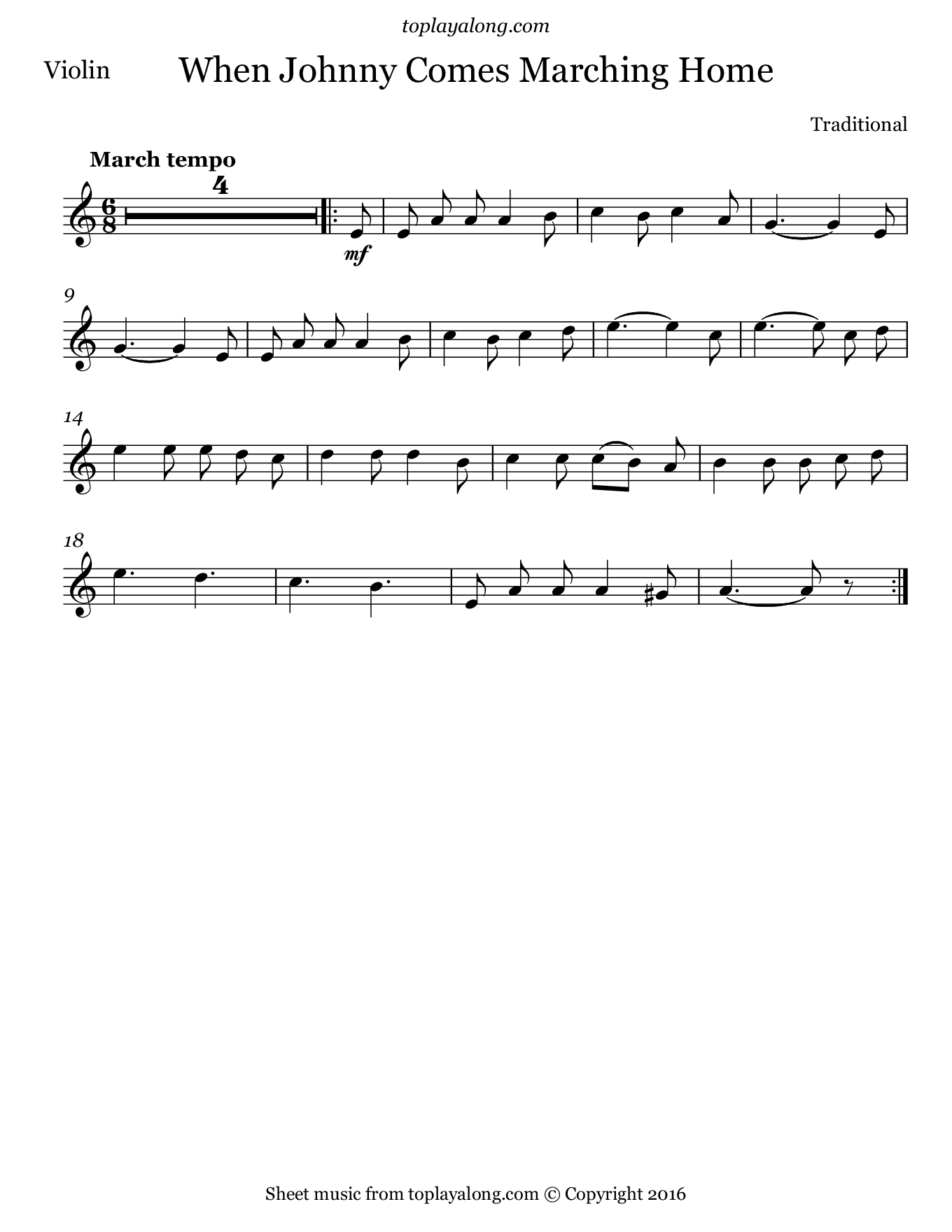 When Johnny Comes Marching Home. Sheet music for Violin, page 1.