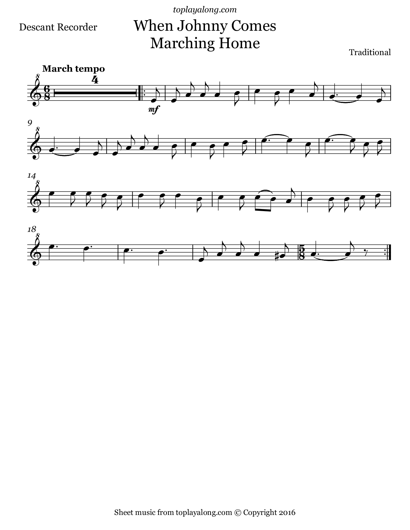 When Johnny Comes Marching Home. Sheet music for Recorder, page 1.