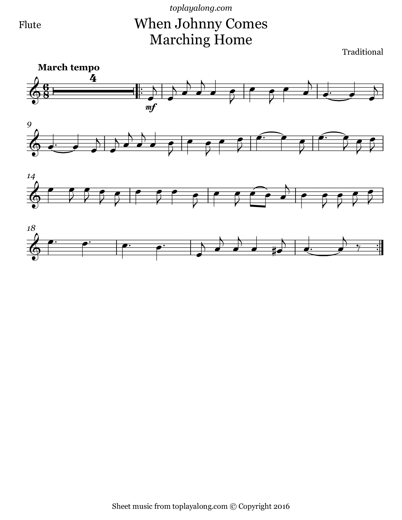 When Johnny Comes Marching Home. Sheet music for Flute, page 1.