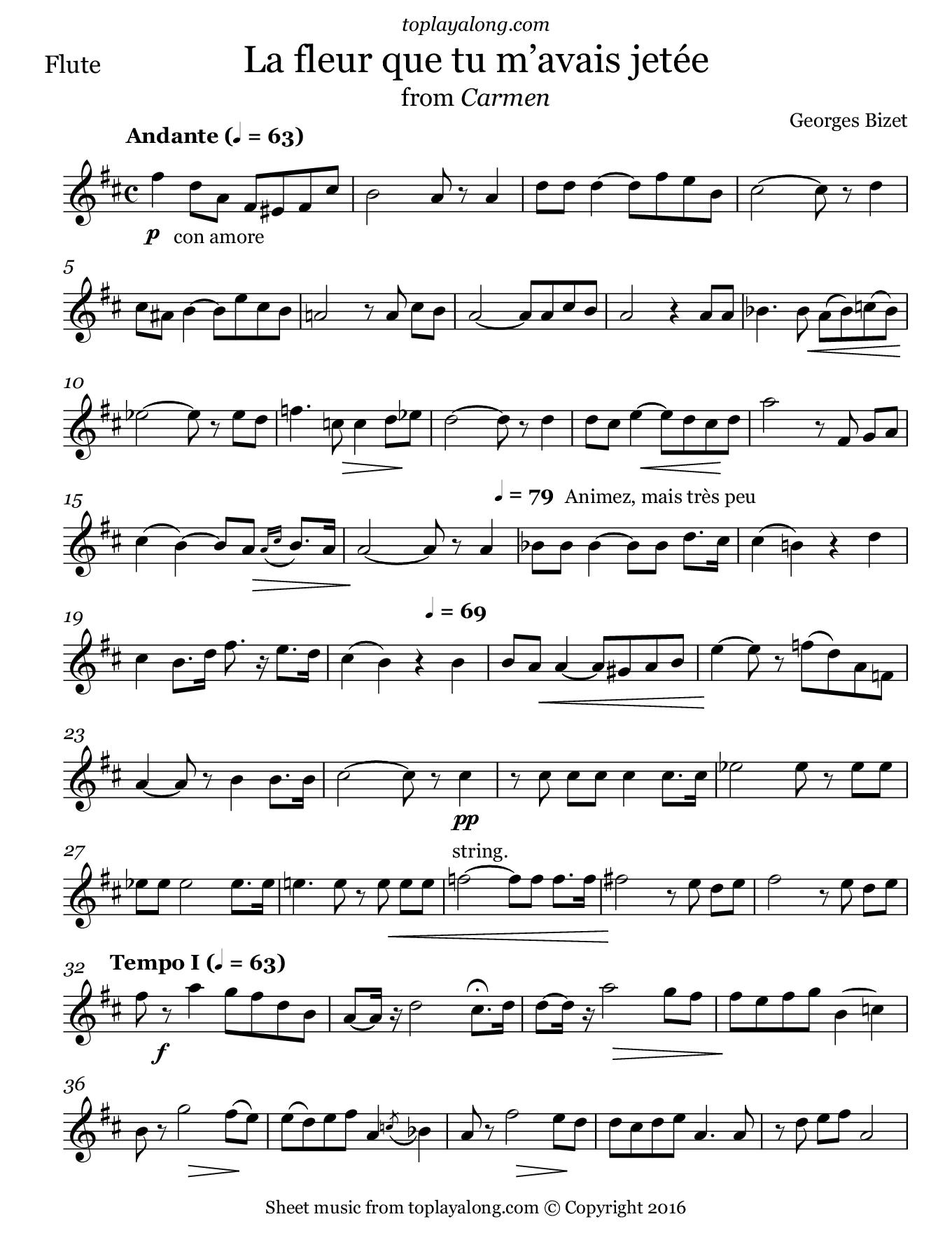 La fleur que tu m'avais jetée from Carmen by Bizet. Sheet music for Flute, page 1.