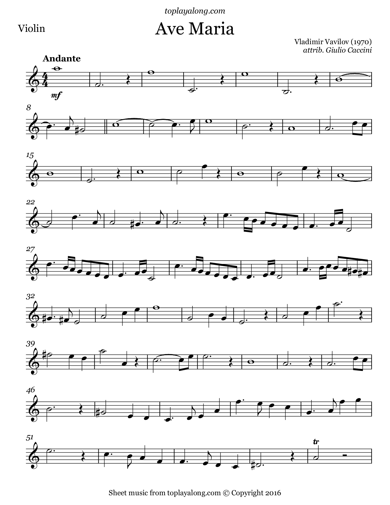 Ave Maria by Vavilov. Sheet music for Violin, page 1.