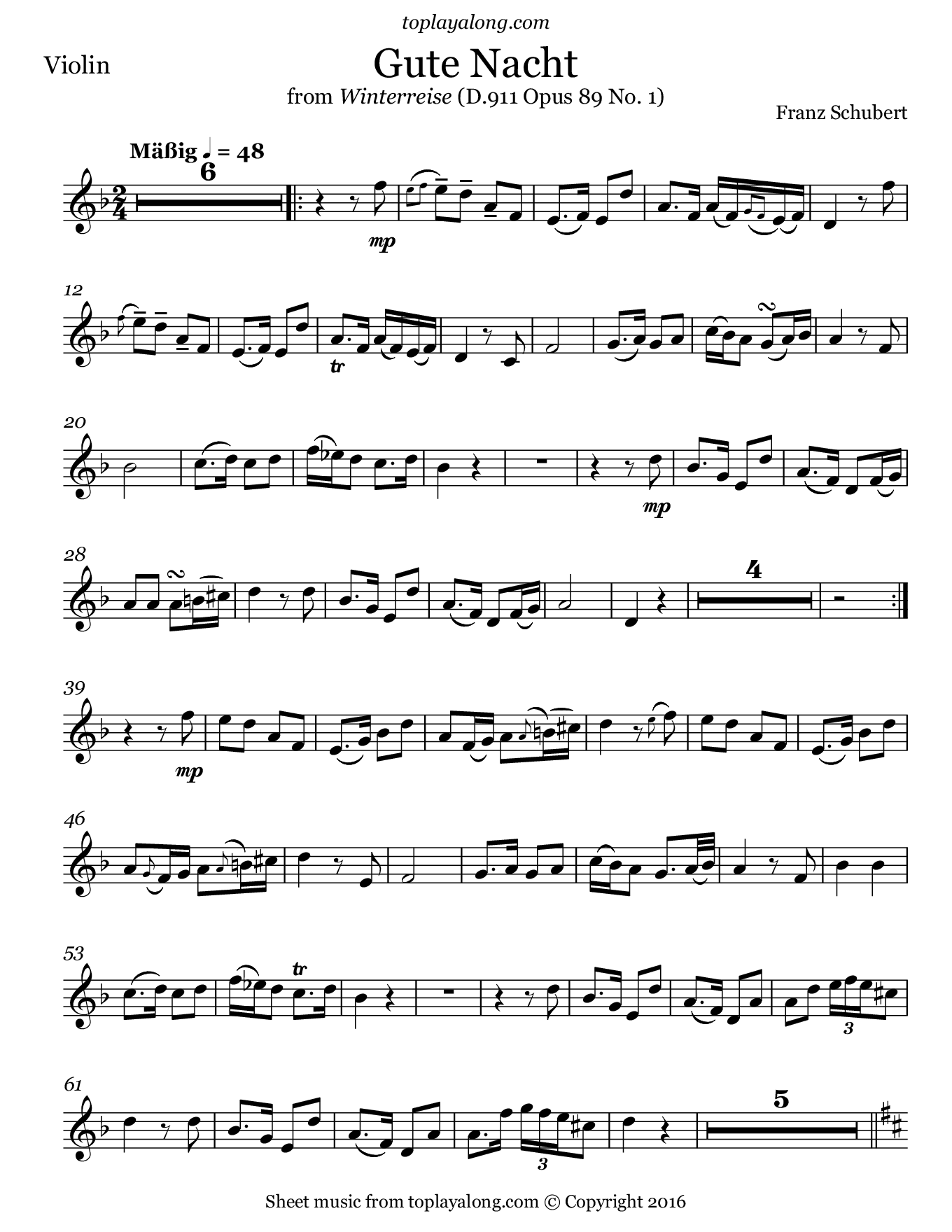 Gute Nacht from Winterreise by Schubert. Sheet music for Violin, page 1.