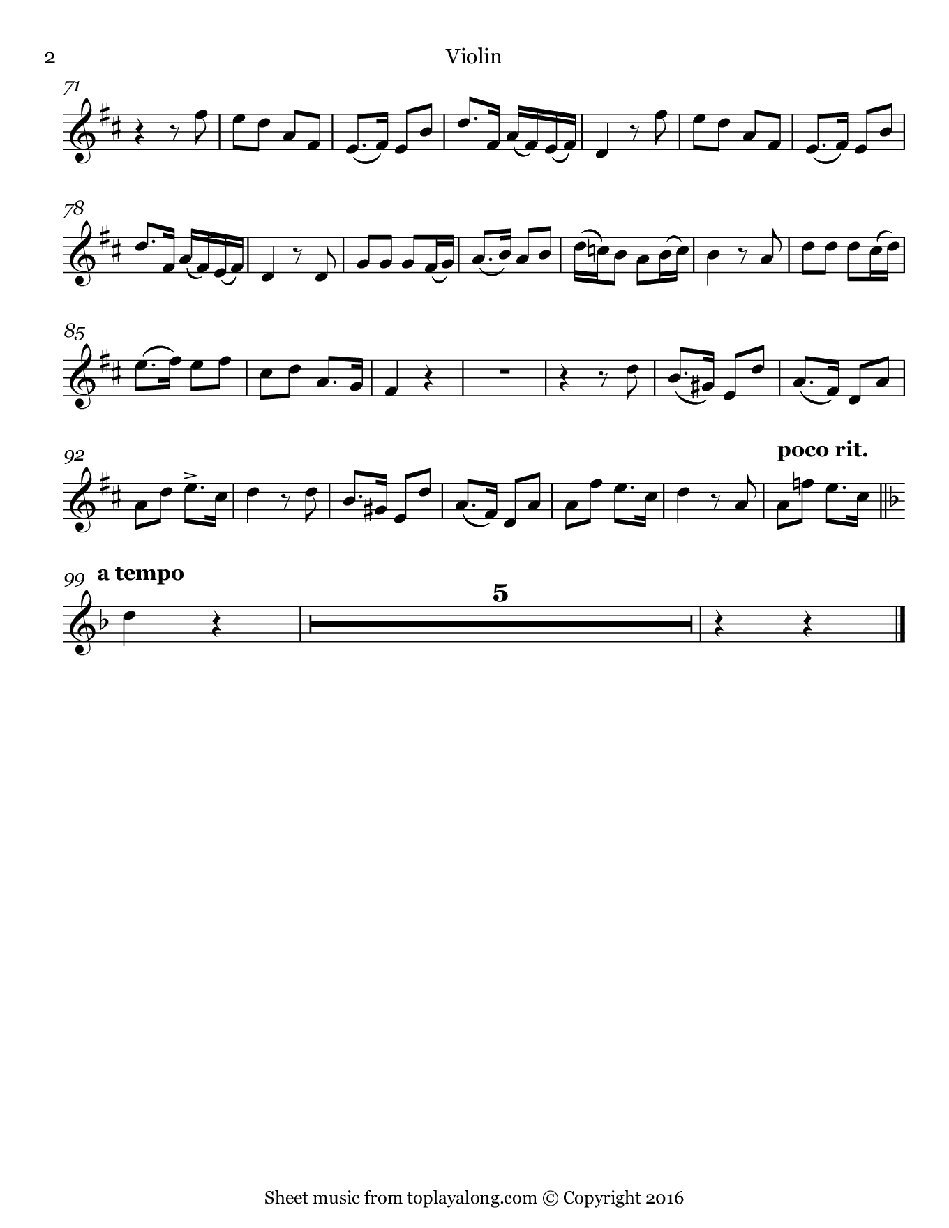 Gute Nacht from Winterreise by Schubert. Sheet music for Violin, page 2.